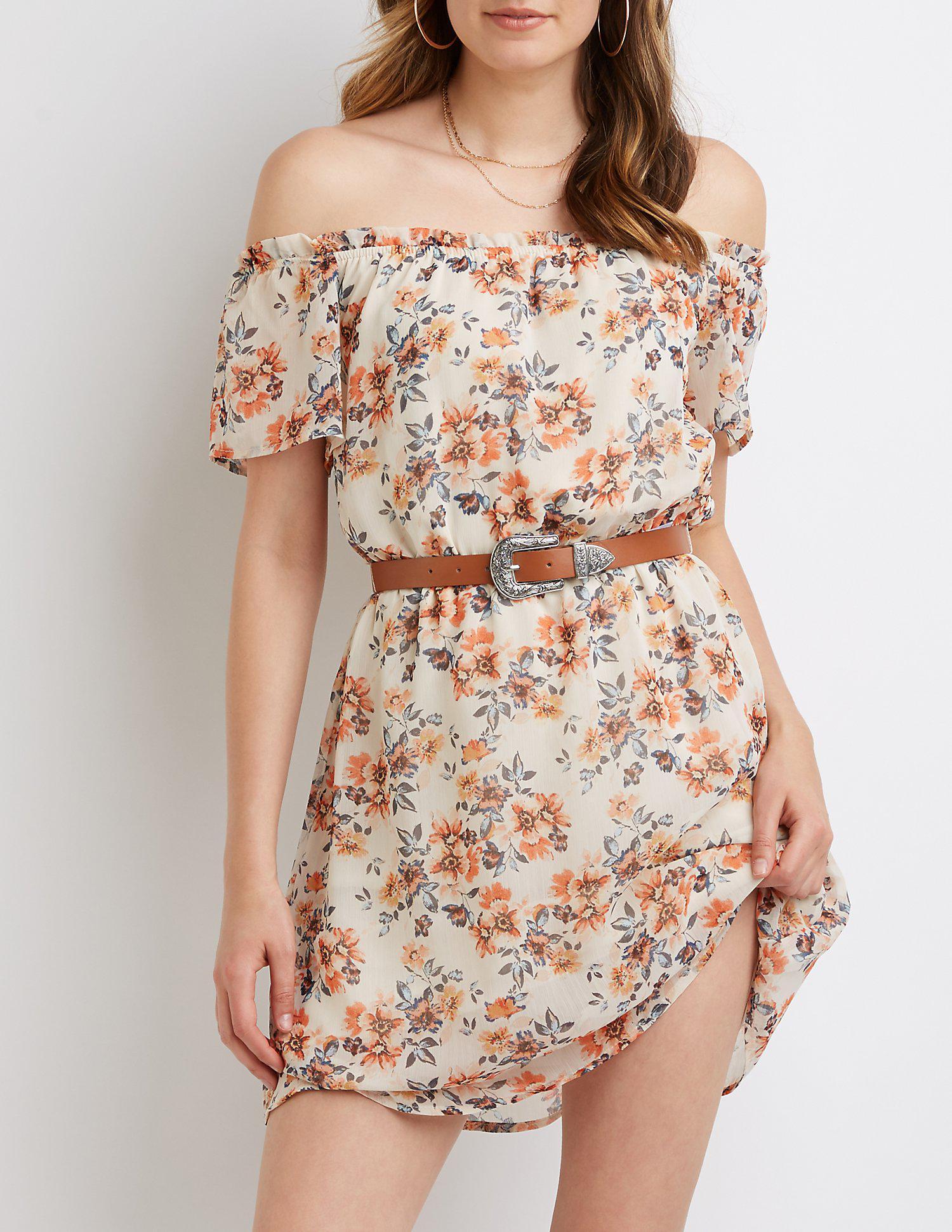 83d18d2d50f Lyst - Charlotte Russe Floral Off The Shoulder Dress