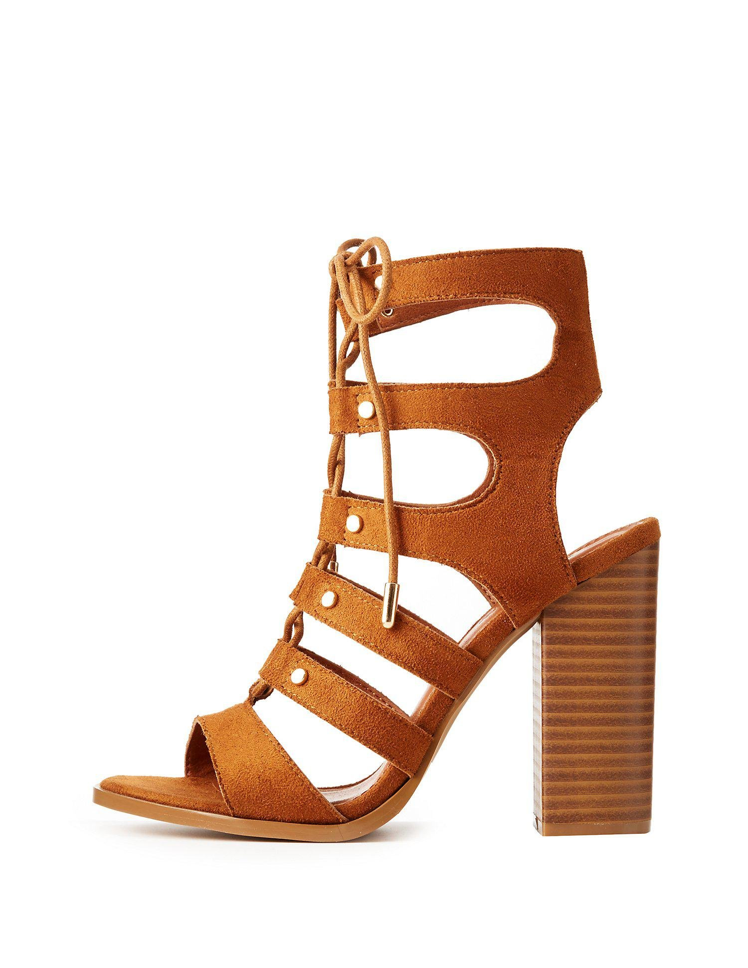 b8603e0fae5 Lyst - Charlotte Russe Lace-up Gladiator Sandals in Brown - Save 24%