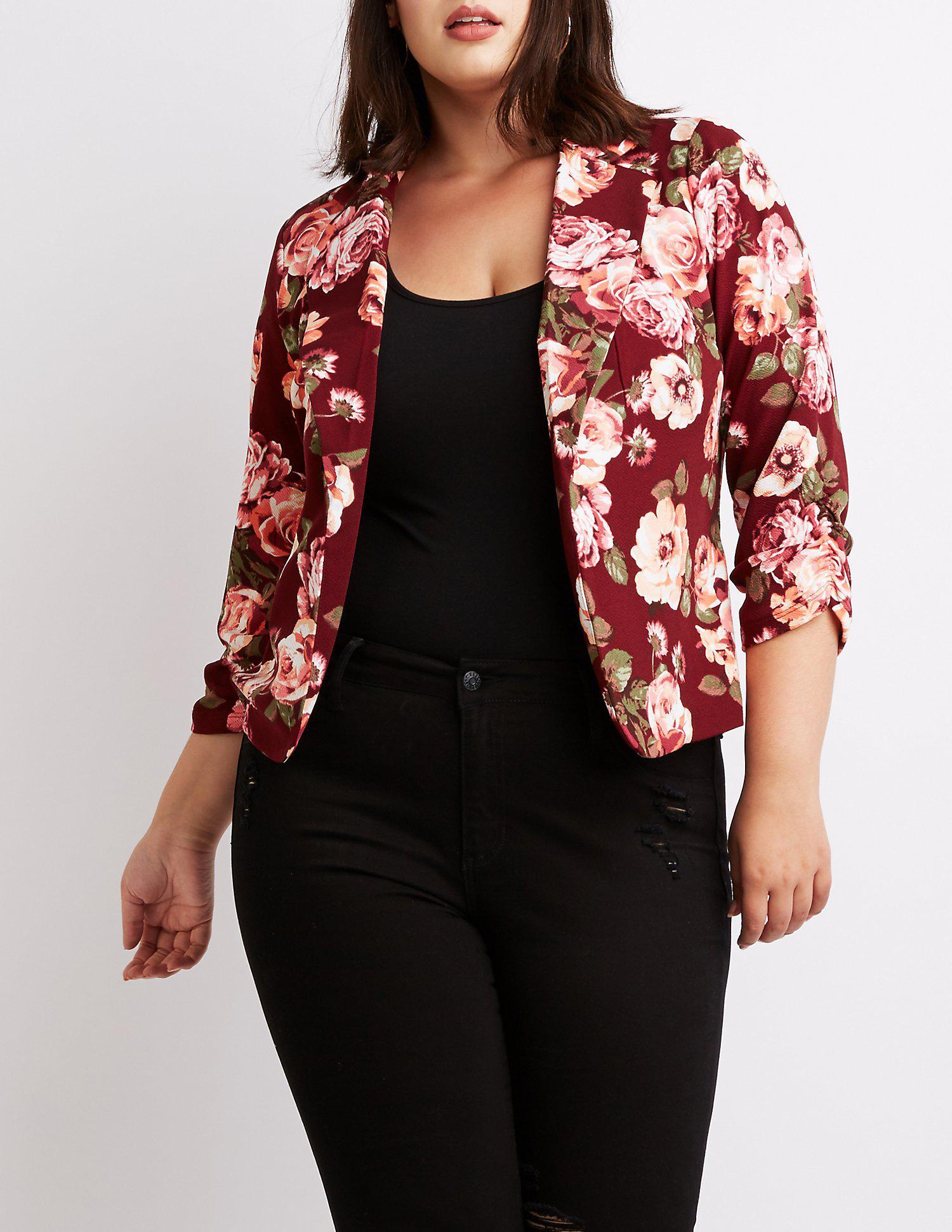ccf435e482b Lyst - Charlotte Russe Plus Size Floral Open-front Blazer
