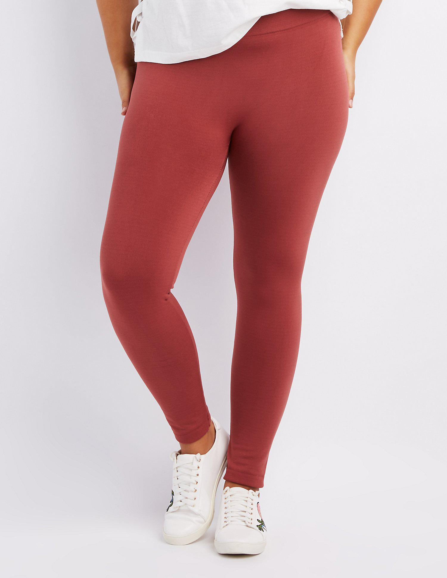 35c6a6c637b619 Lyst - Charlotte Russe Plus Size Fleece Lined Leggings in Red