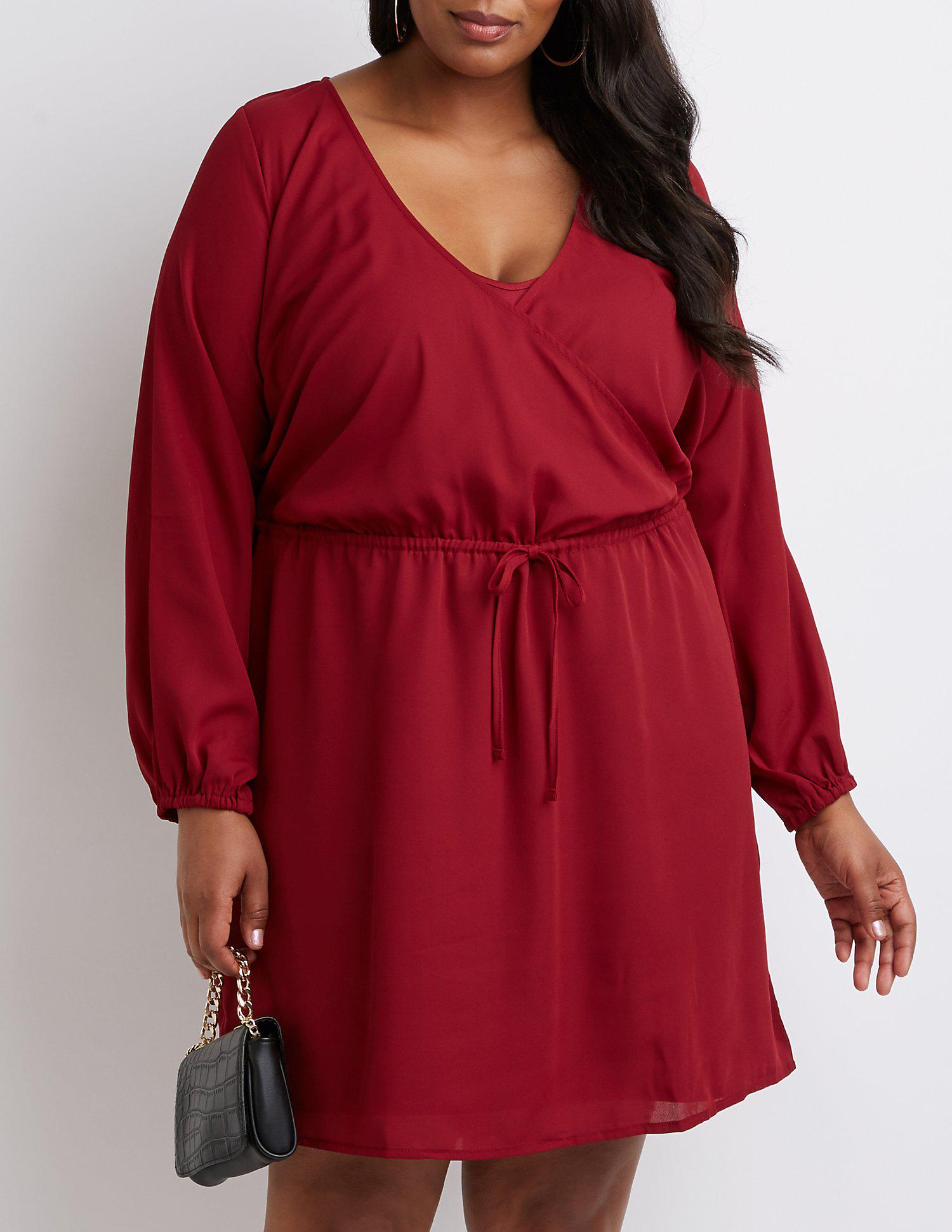 Lyst - Charlotte Russe Plus Size Keyhole Wrap Dress in Red ...
