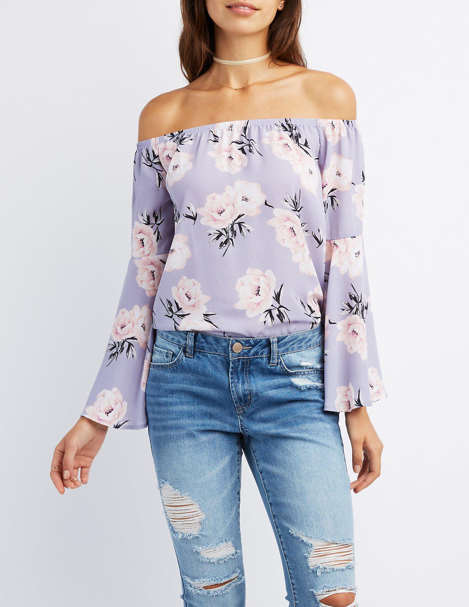 86305c470e635 Lyst - Charlotte Russe Floral Off-the-shoulder Bell Sleeve Top in Blue