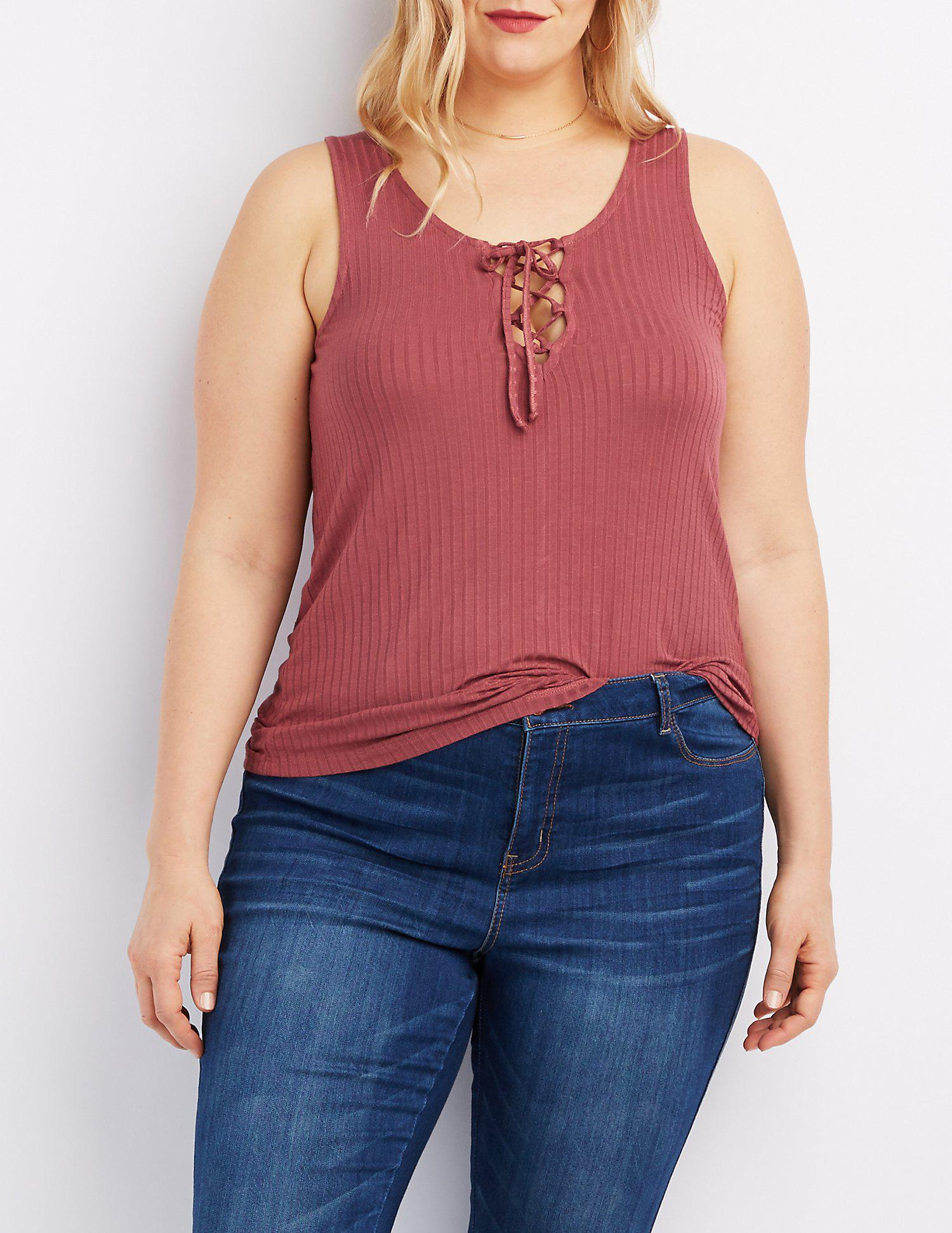 636d29d701 Lyst - Charlotte Russe Plus Size Ribbed Lace-up Tank Top