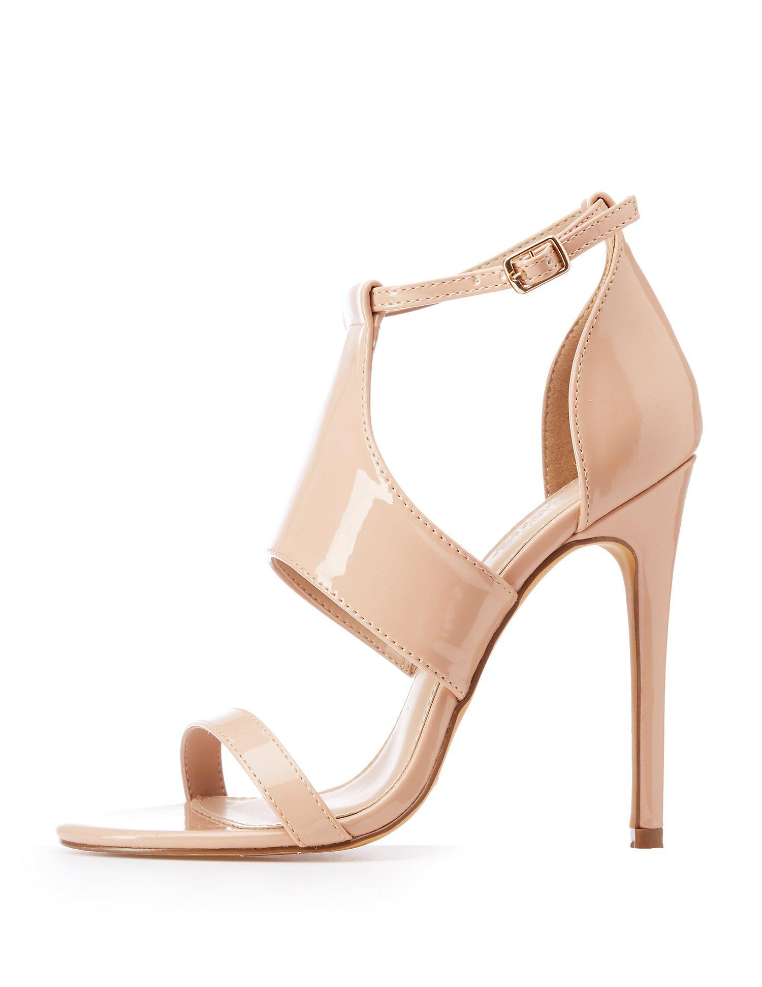 1a37414ed18 Lyst - Charlotte Russe Caged Open Toe Sandals in Natural