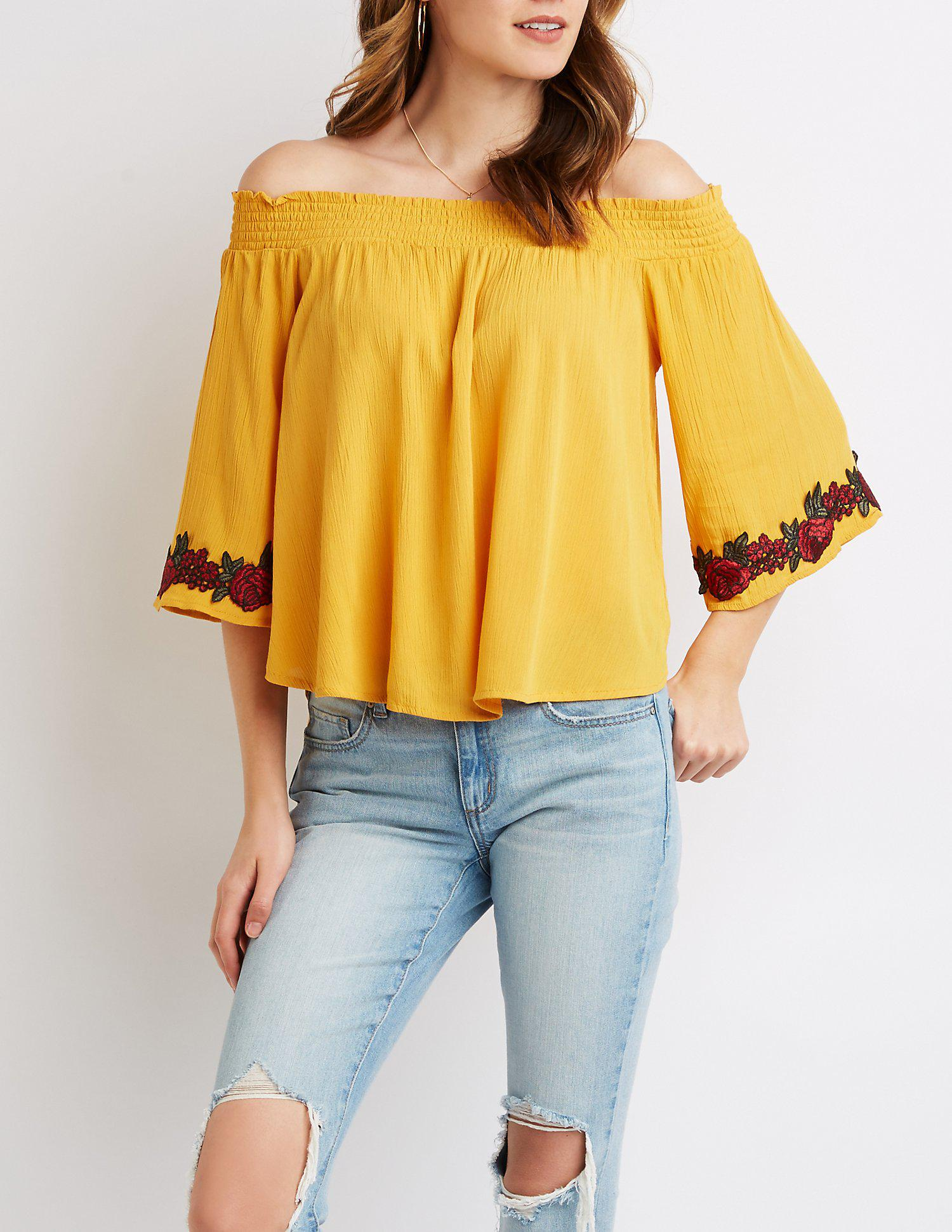 6670d2fb2c65a6 Lyst - Charlotte Russe Floral Embroidered Smocked Off-the-shoulder Top