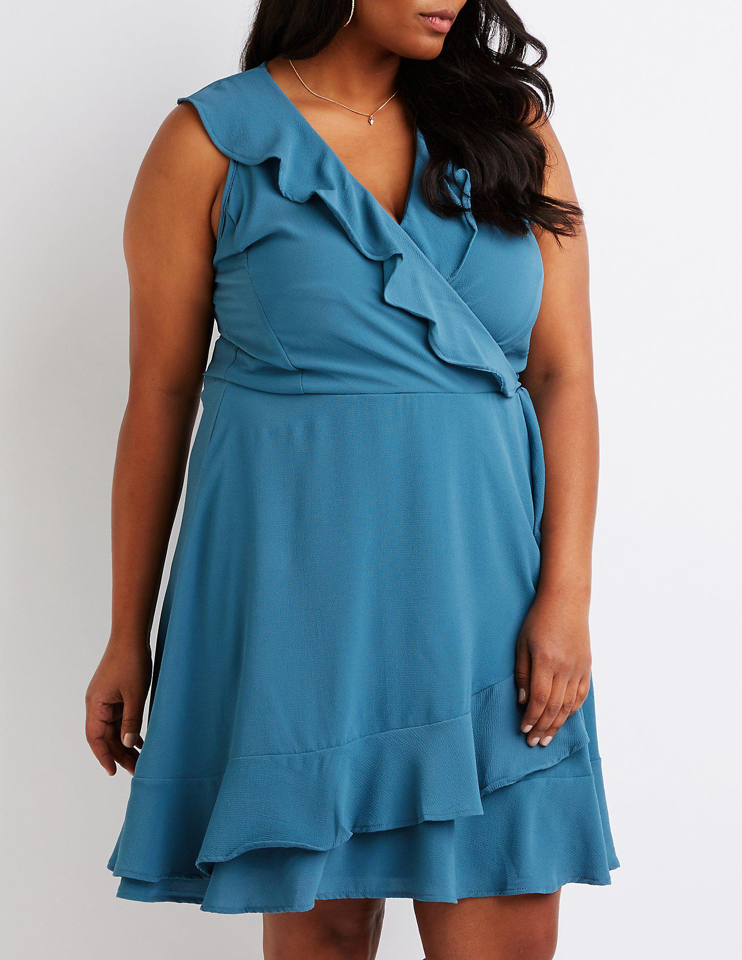 d9e0298ef78 Lyst - Charlotte Russe Plus Size Wrap Skater Dress in Blue