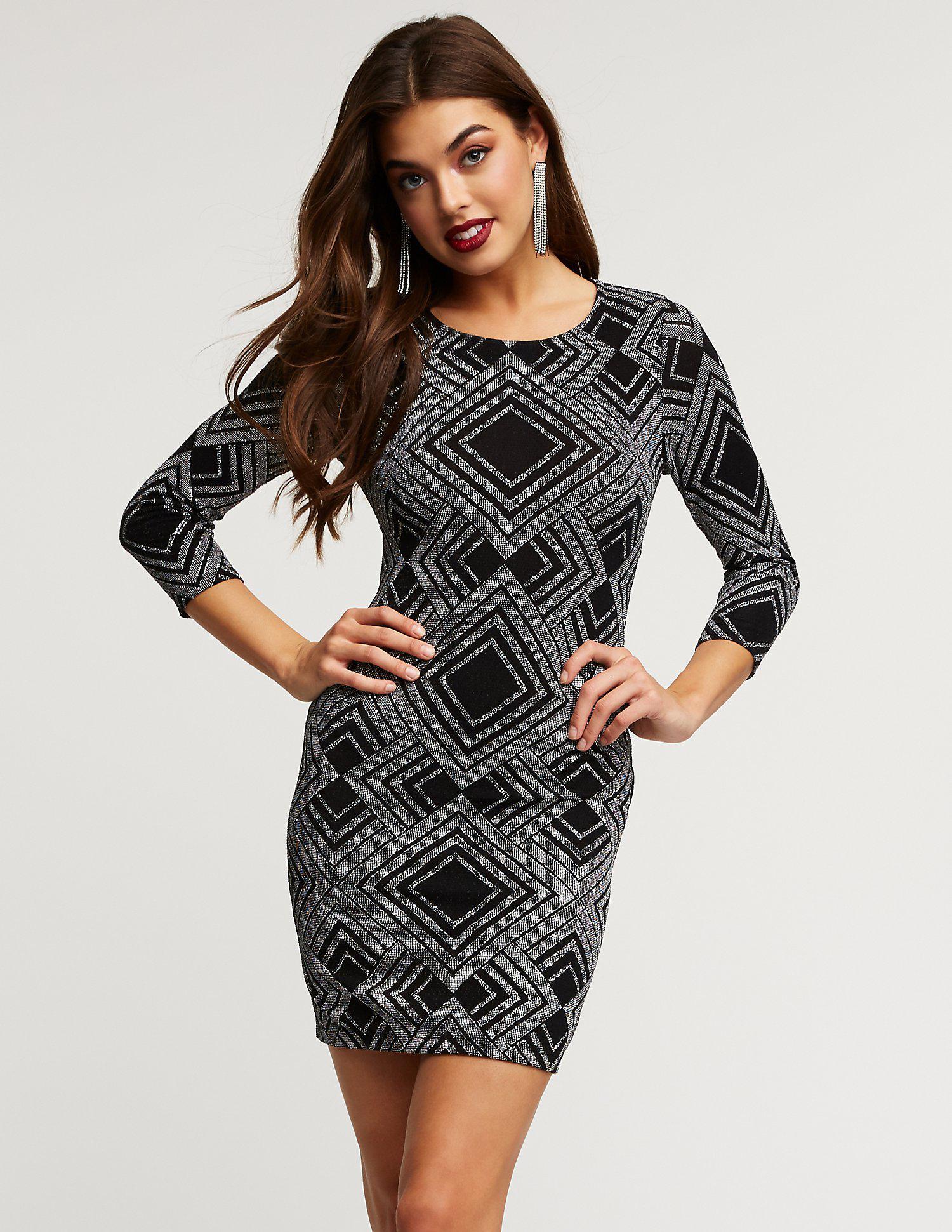 d429c3423d80 Charlotte Russe. Women's Black Glitter Geometric Print Bodycon Dress