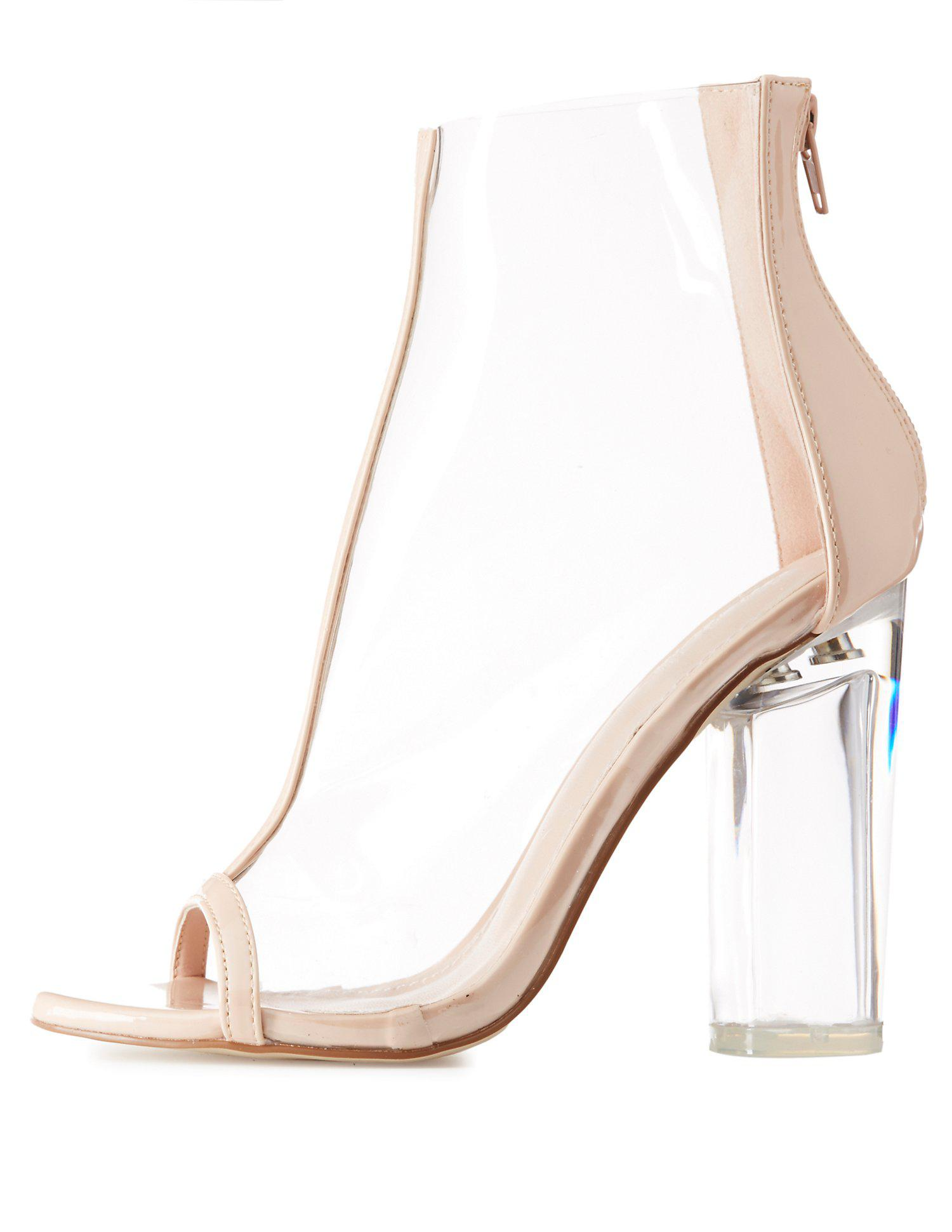 ab228403c18 Lyst - Charlotte Russe Clear Peep Toe Lucite Heel Booties in Natural