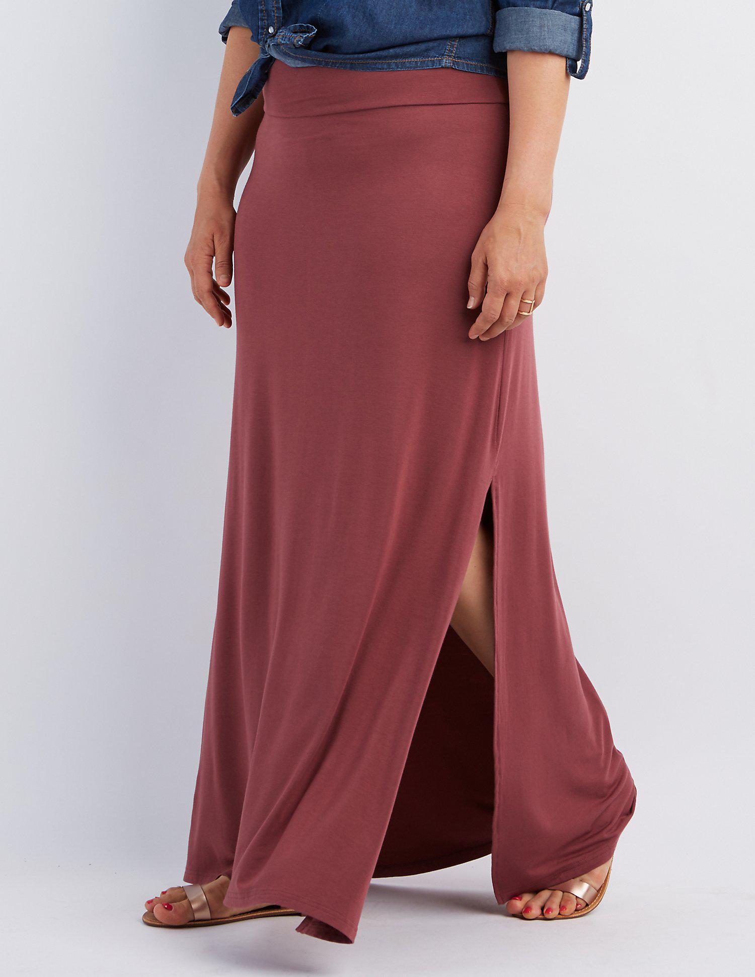 f27a68b766 Lyst - Charlotte Russe Plus Size Double Slit Maxi Skirt
