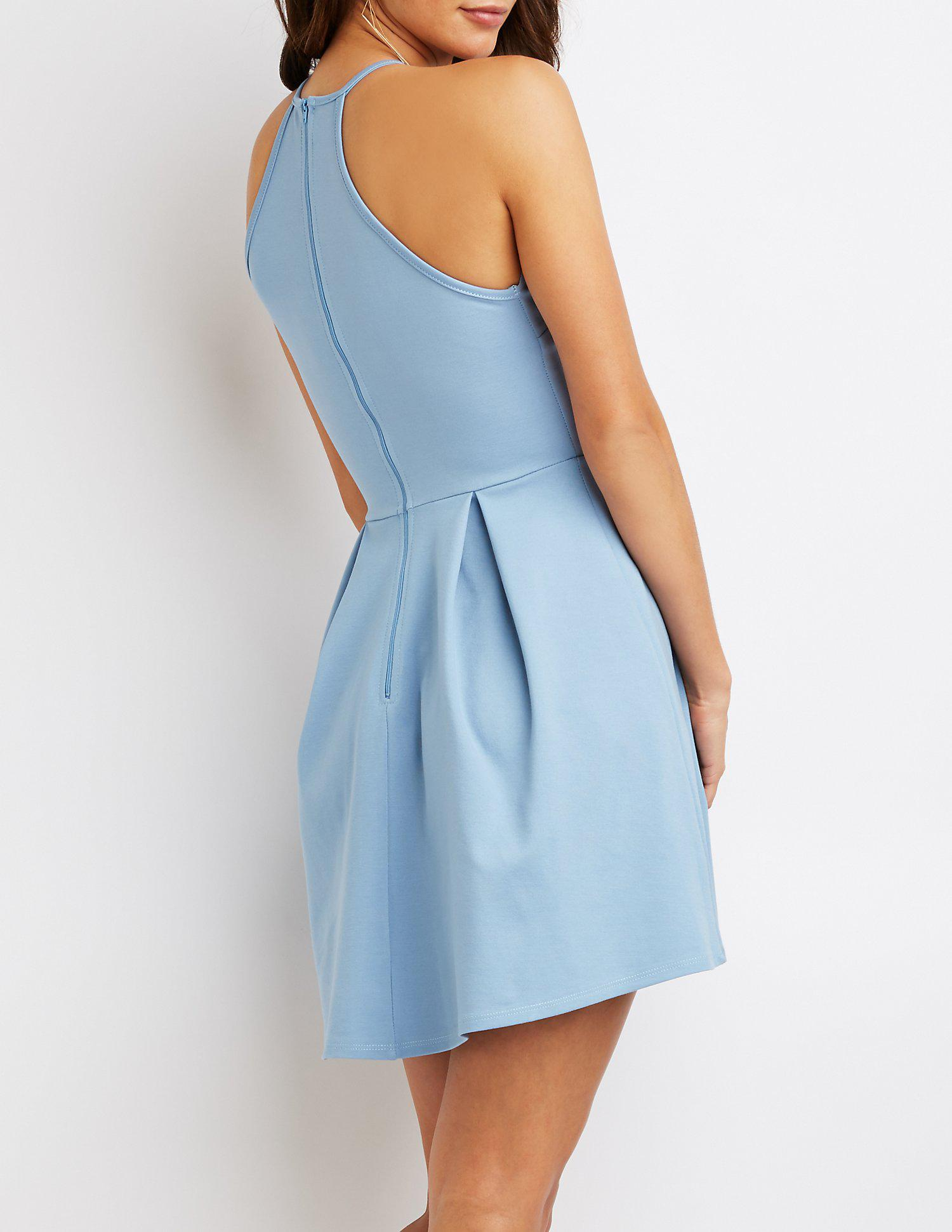 Lyst - Charlotte Russe Scalloped Bib Neck Skater Dress in Blue ...