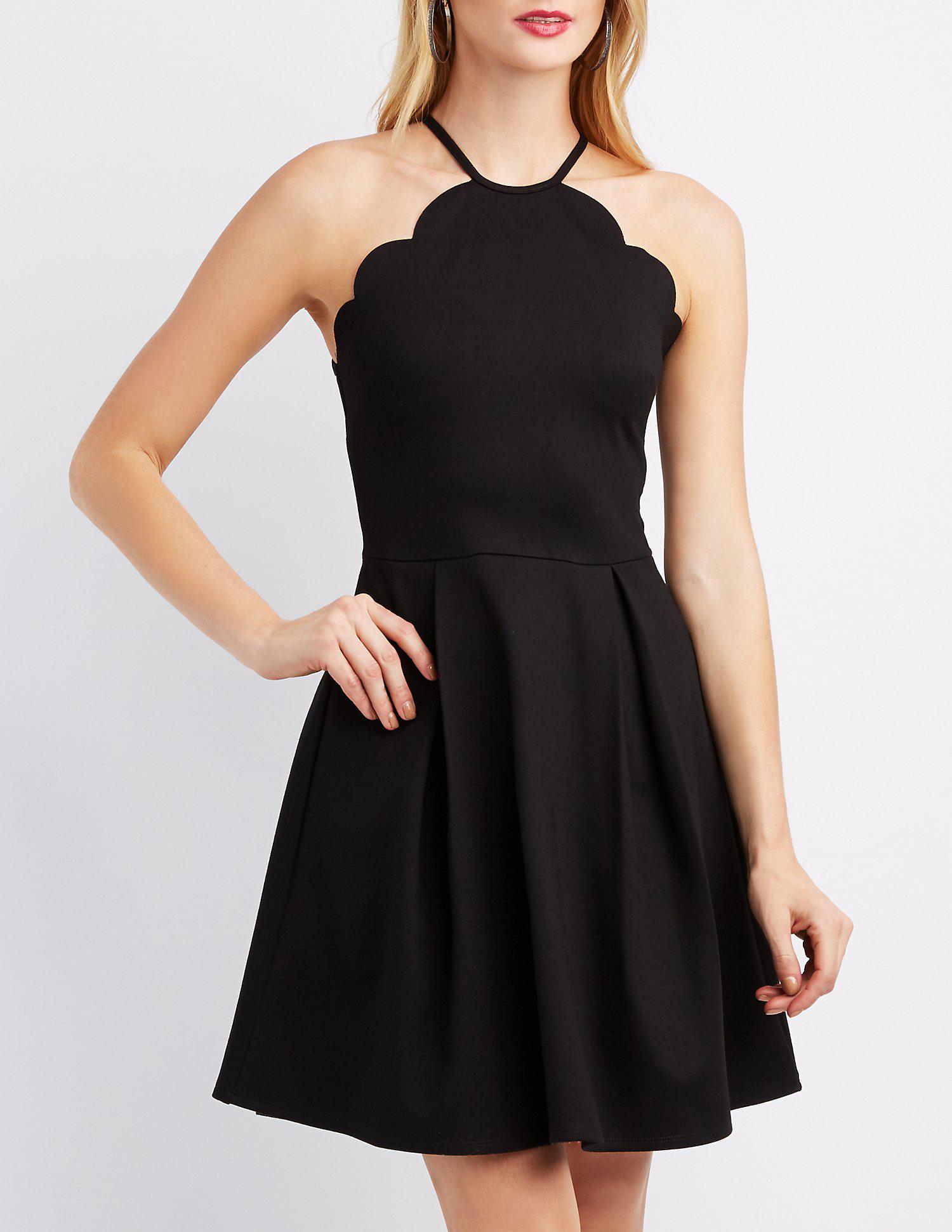 07960ee6acad Lyst - Charlotte Russe Scalloped Bib Neck Skater Dress in Black ...