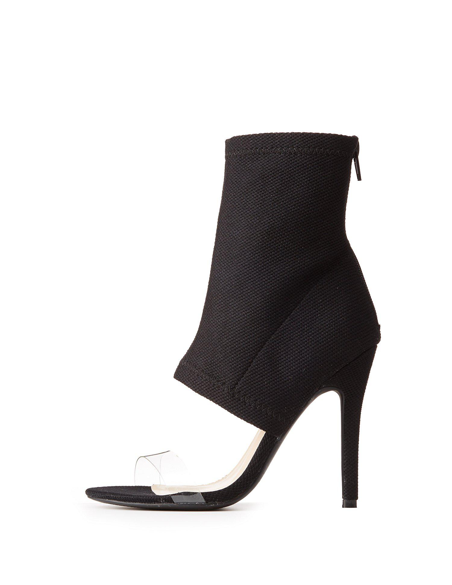 806883d1bef Lyst - Charlotte Russe Clear Strap Knit Sock Heels in Black