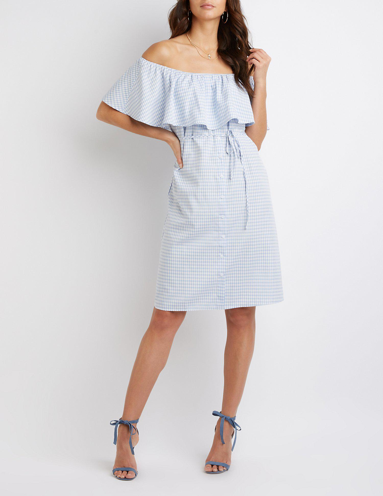 37bca8aab07 Lyst - Charlotte Russe Button-up Off-the-shoulder Dress in Blue