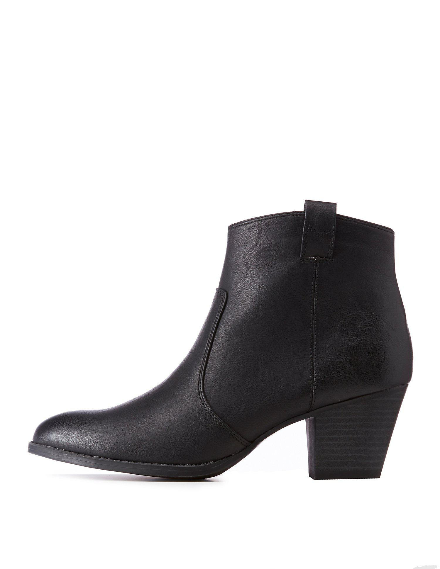 ef6b3427bf1c Lyst - Charlotte Russe Qupid Faux Leather Ankle Booties in Black