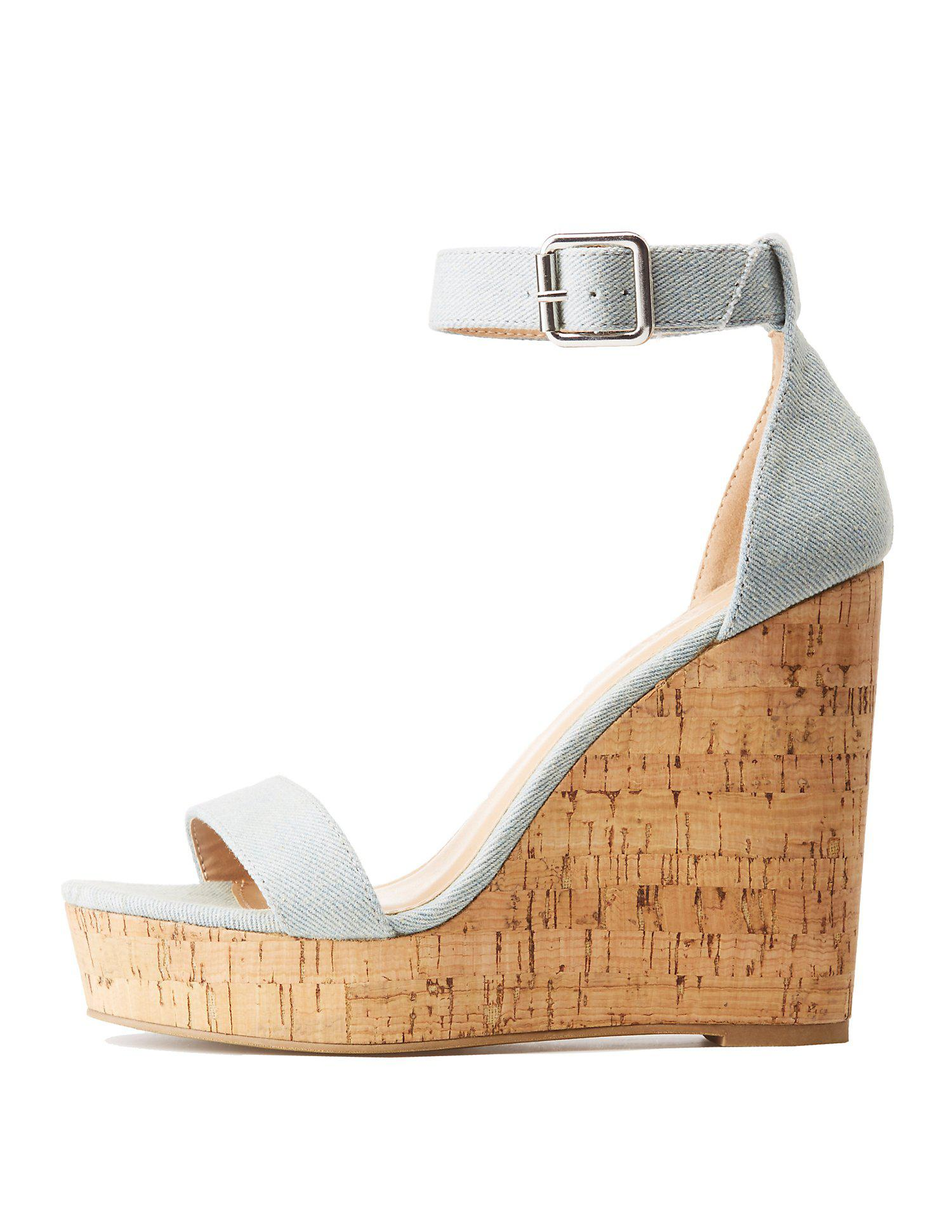 c6d435895fd Lyst - Charlotte Russe Chambray Ankle Strap Wedge Sandals in Blue ...