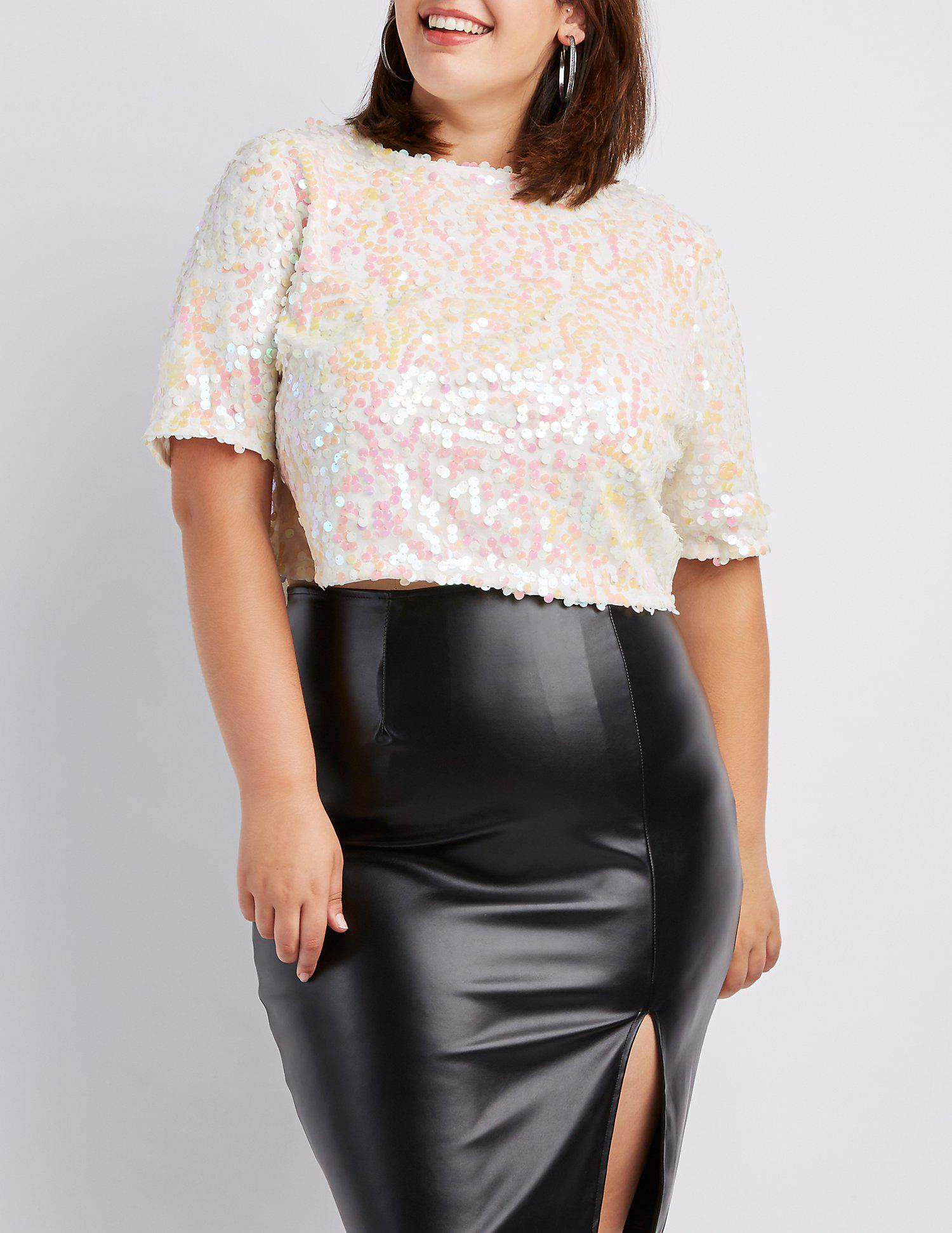 25c693651634b Lyst - Charlotte Russe Plus Size Sequins Zip-back Crop Top in White