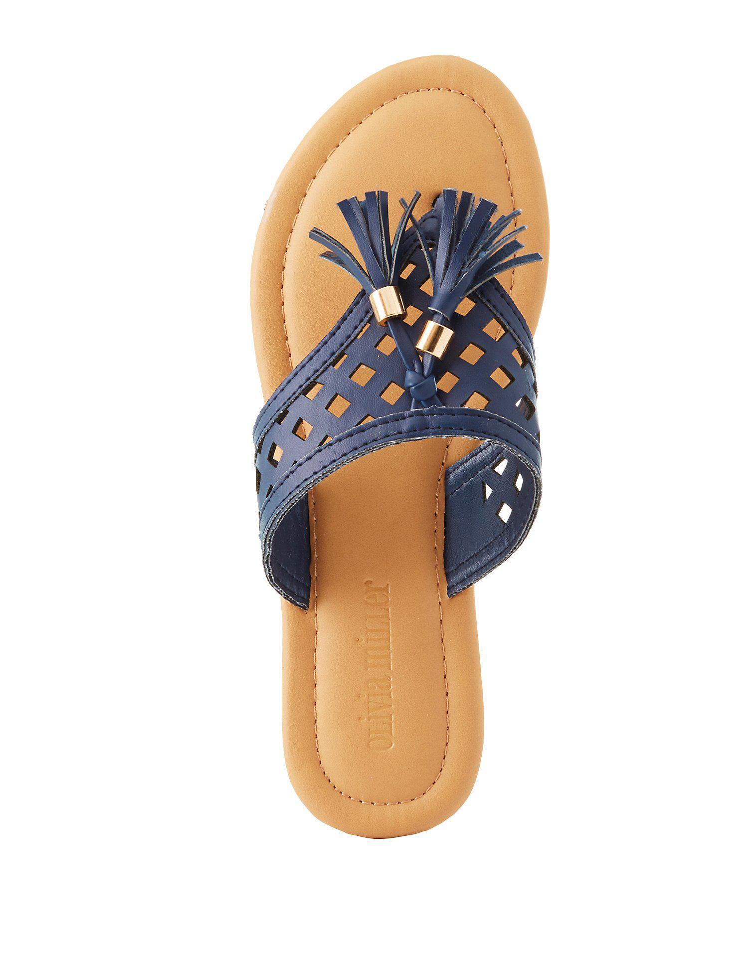 ede968fca Lyst - Charlotte Russe Laser Cut Tassel Thong Sandals in Blue