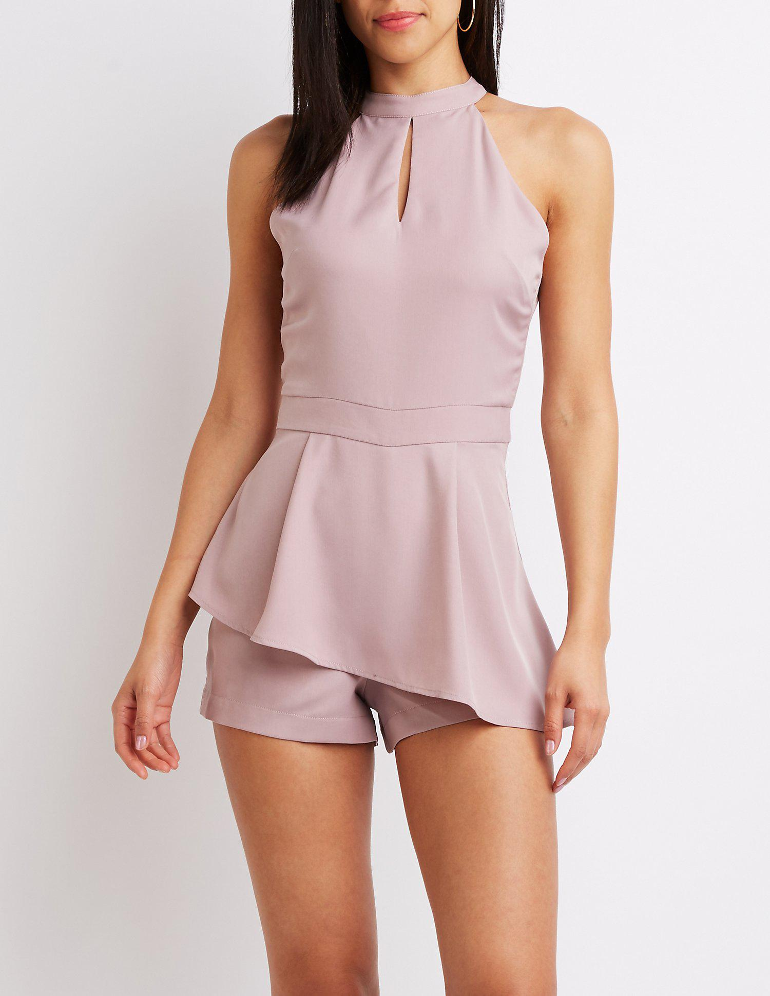 7712f292e3d Lyst - Charlotte Russe Mock Neck Skort Romper in Purple - Save ...
