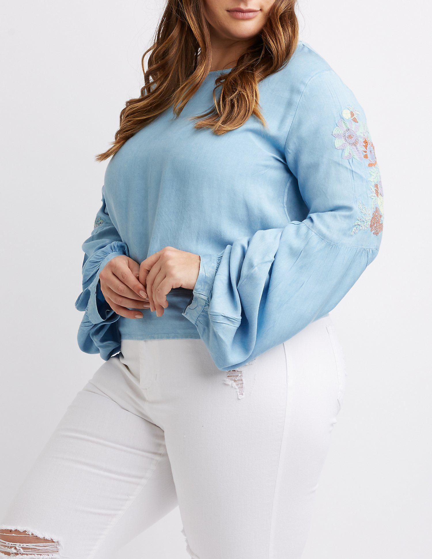 e1d703ab1ad Lyst - Charlotte Russe Plus Size Floral Bell Sleeve Top in Blue