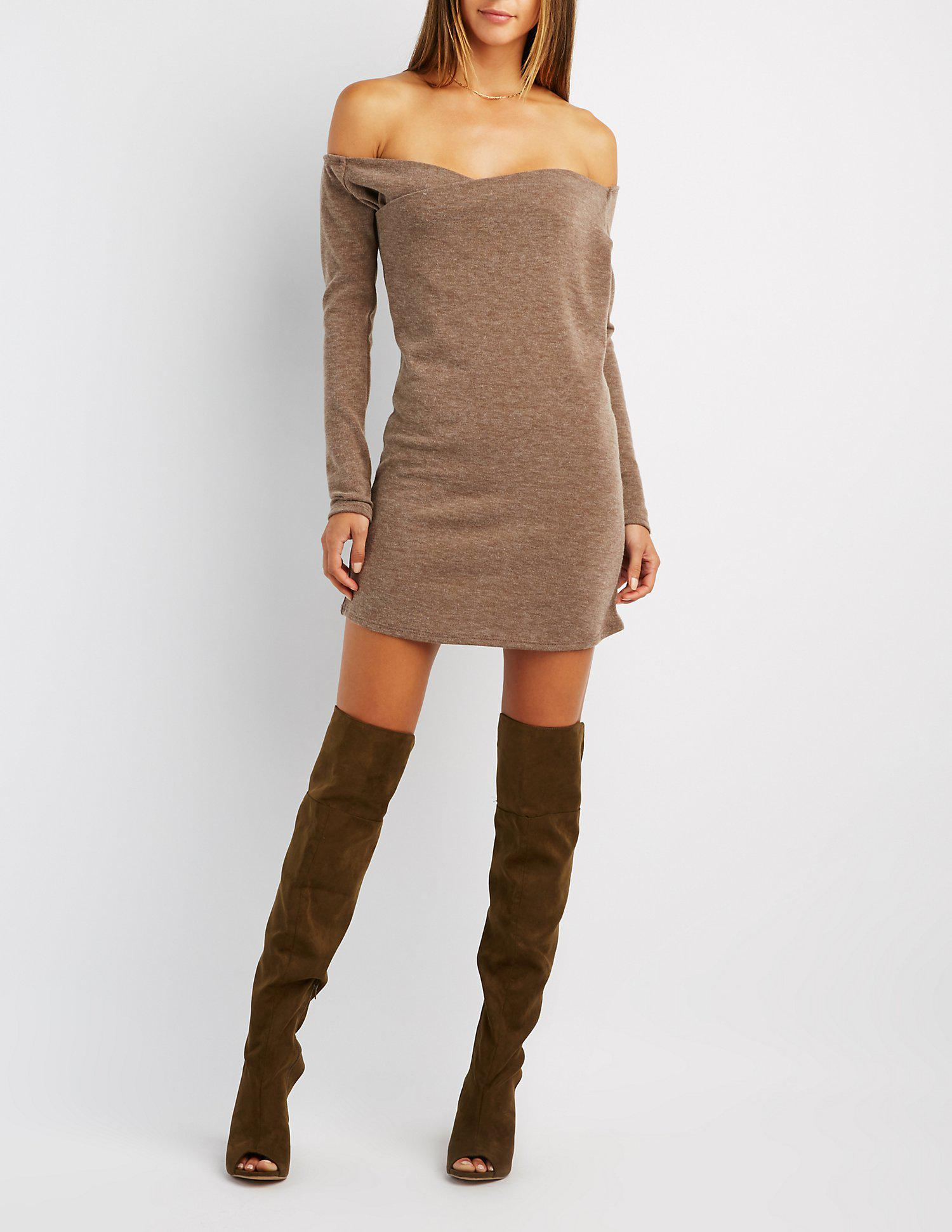 dc31fbd88368 Lyst - Charlotte Russe Wrapped Off-the-shoulder Shift Dress in Brown
