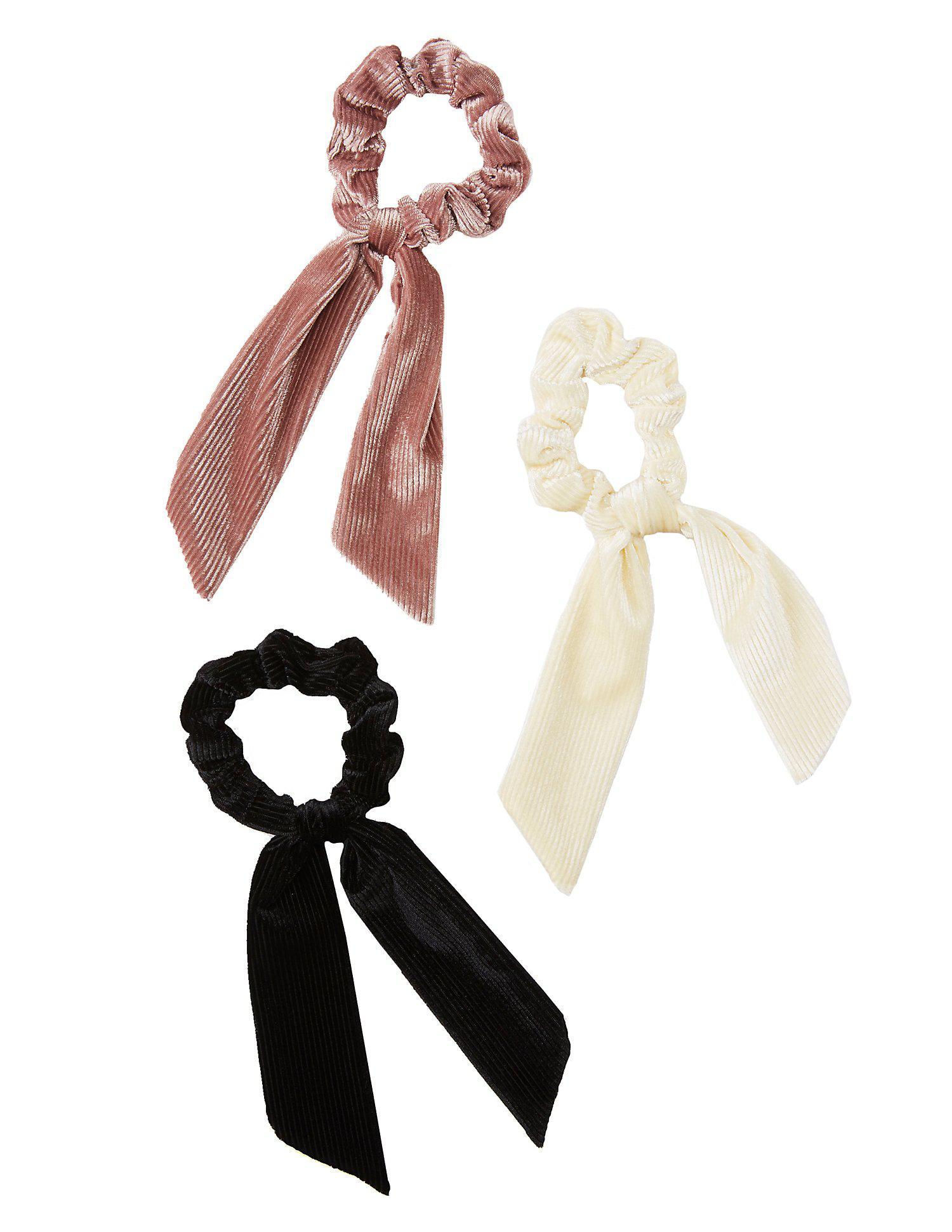 Lyst - Charlotte Russe Corduroy Tie Scrunchies - 3 Pack in Pink d9d3923389f