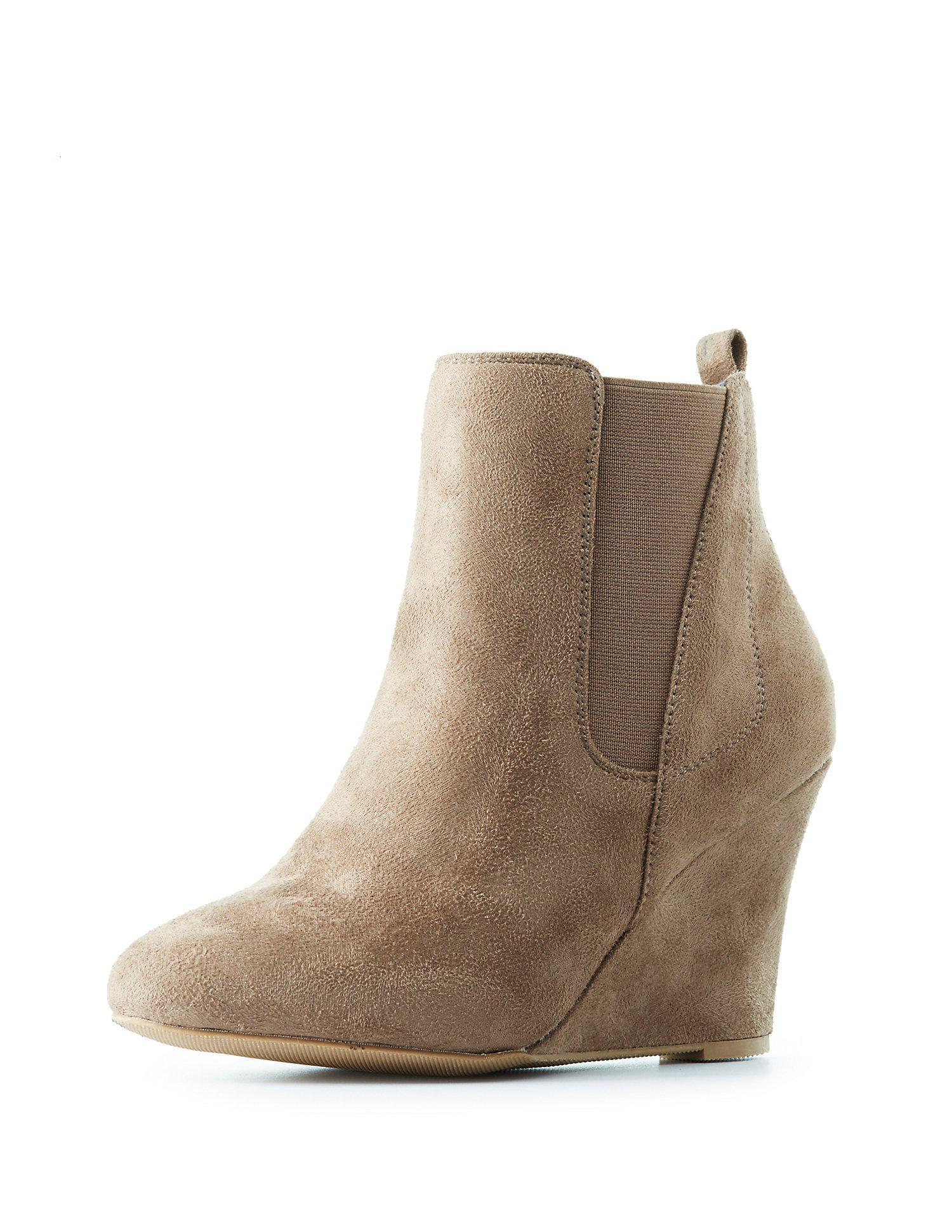 0b3c0b8b72fd Lyst - Charlotte Russe Side Gore Wedge Ankle Booties in Brown