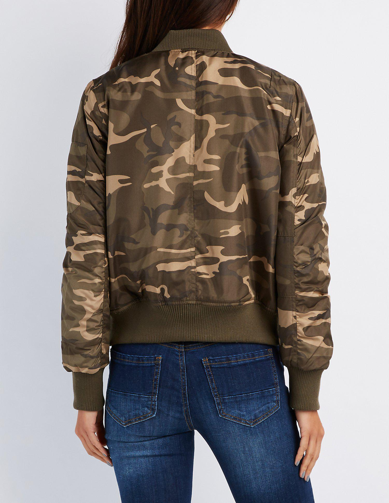 00248f1442a Lyst - Charlotte Russe Camo Padded Bomber Jacket