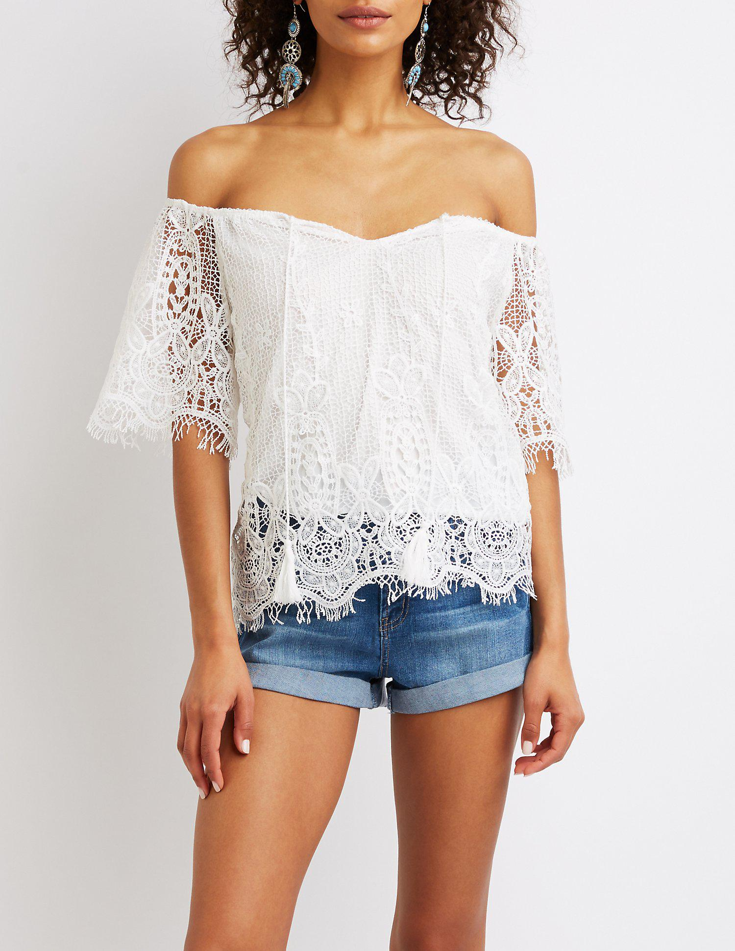 6c39509e847ff Lyst - Charlotte Russe Floral Lace Off-the-shoulder Top in White