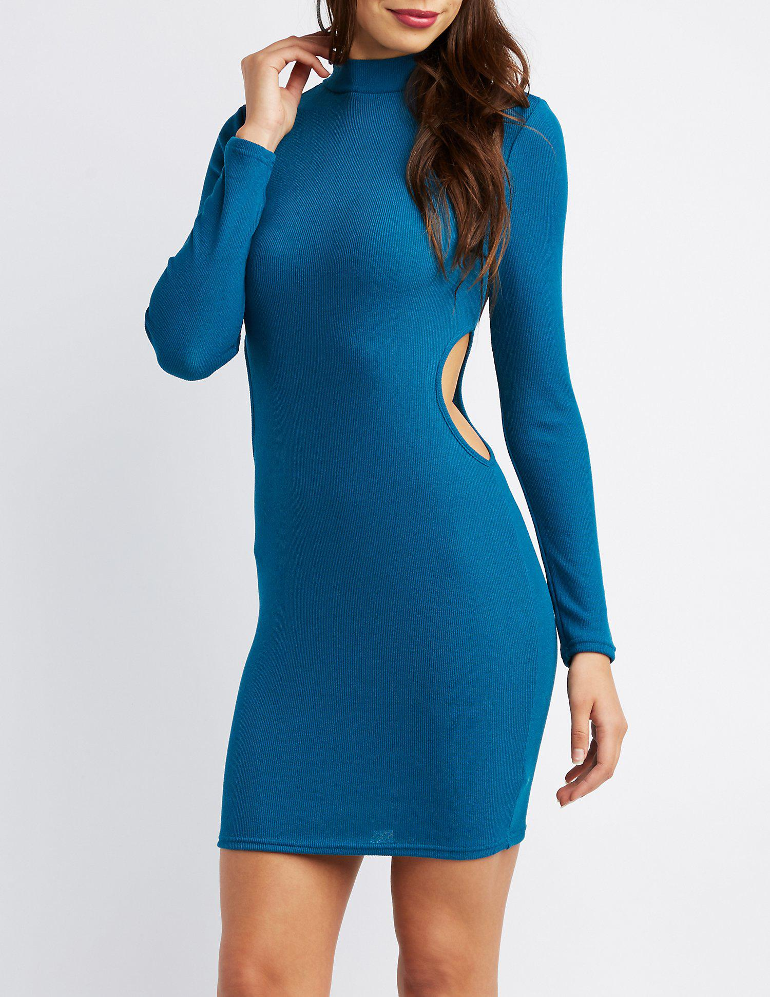 b68698e11184 Lyst - Charlotte Russe Mock Neck Cut-out Bodycon Dress in Blue