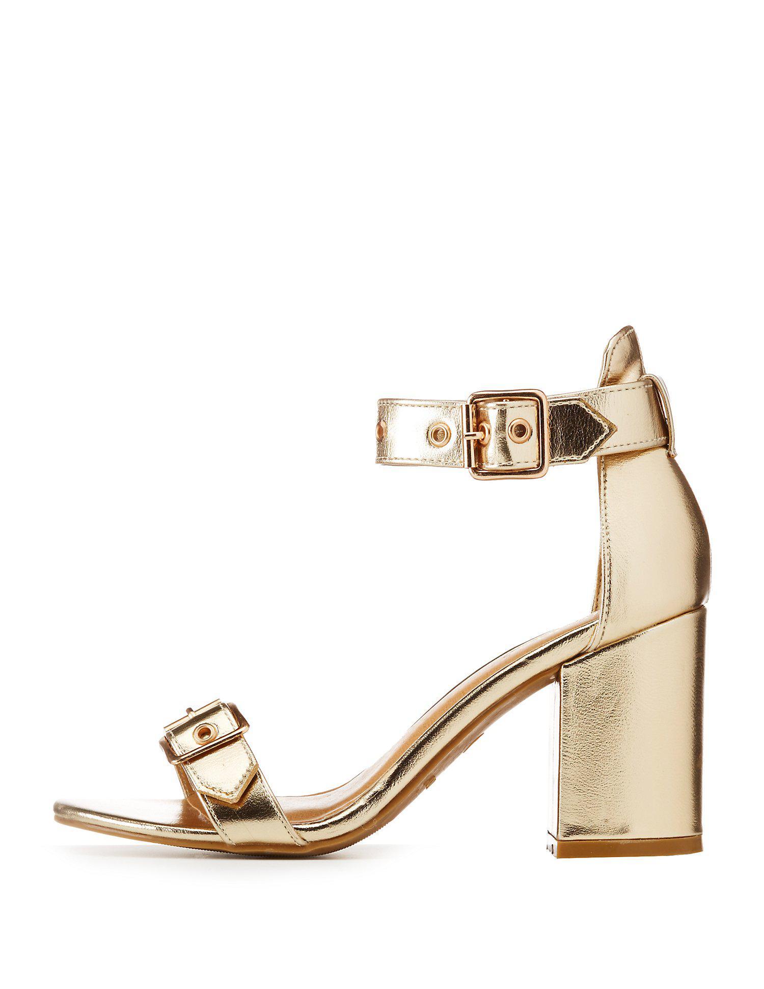 12ac4768da0d Lyst - Charlotte Russe Metallic Buckle Ankle Strap Sandals in Metallic