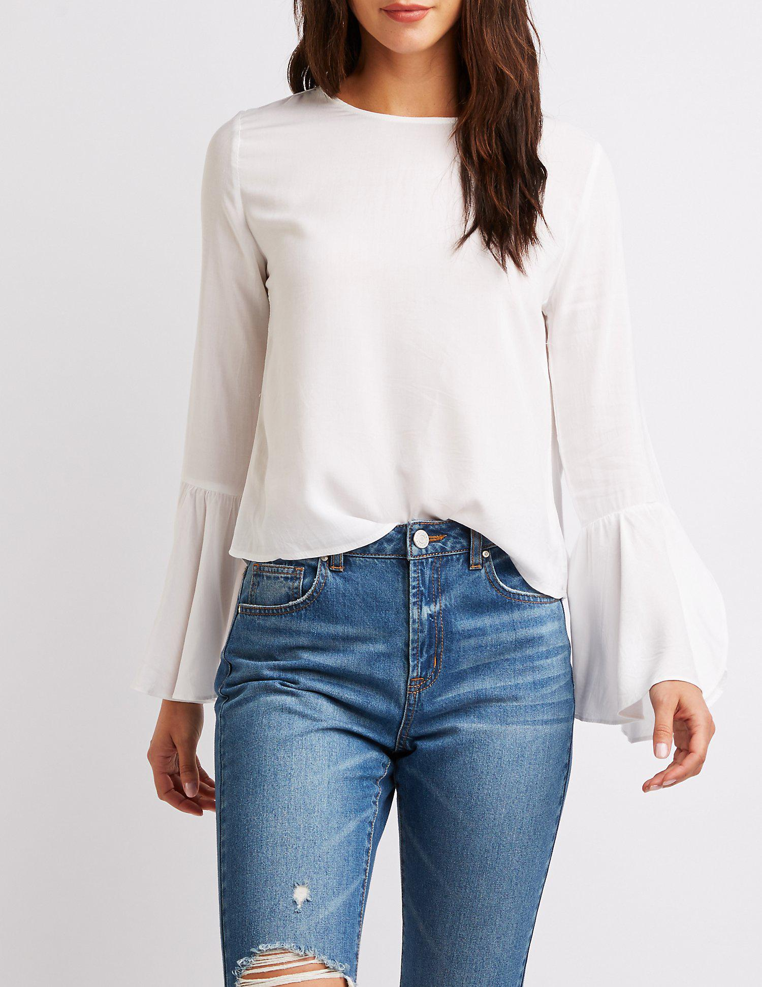 Lyst - Charlotte Russe Long Bell Sleeve Top in White
