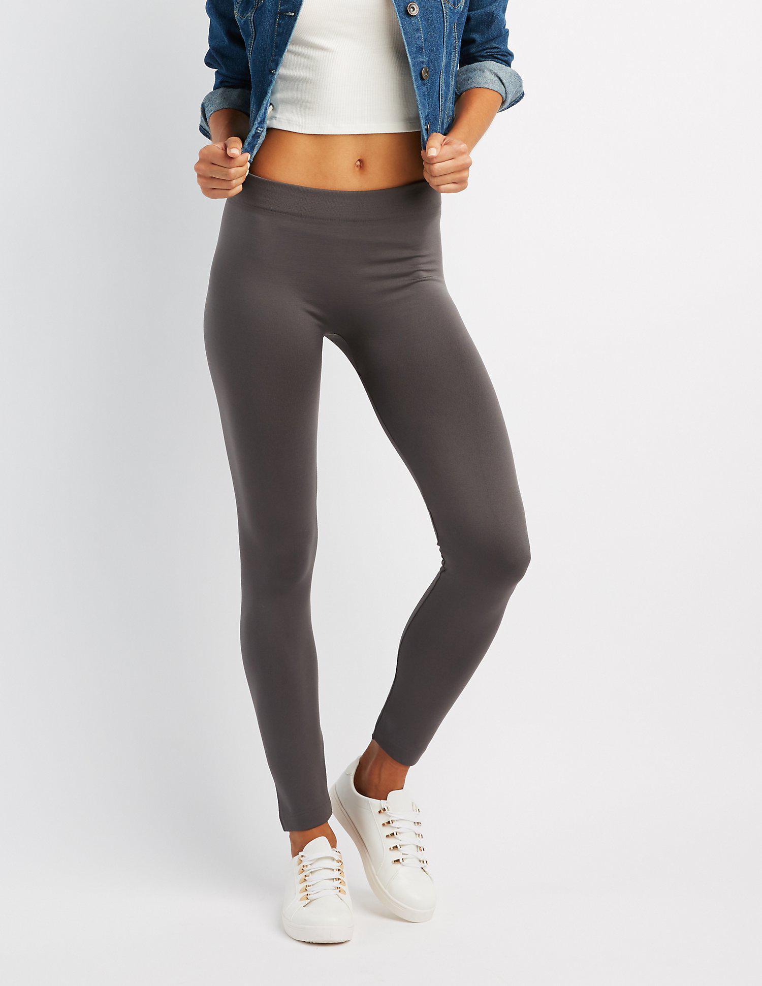 68df2746e89eee Lyst - Charlotte Russe Stretch Fleece Lined Leggings in Gray
