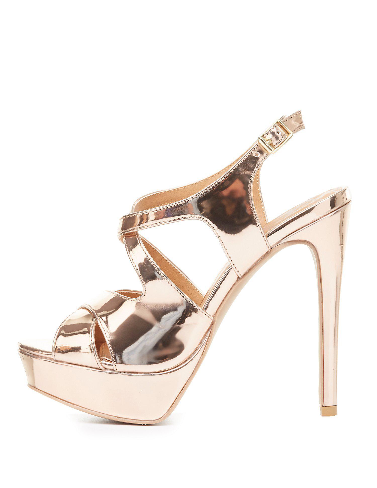 fe98473f5046 Lyst - Charlotte Russe Qupid Platform Slingback Sandals