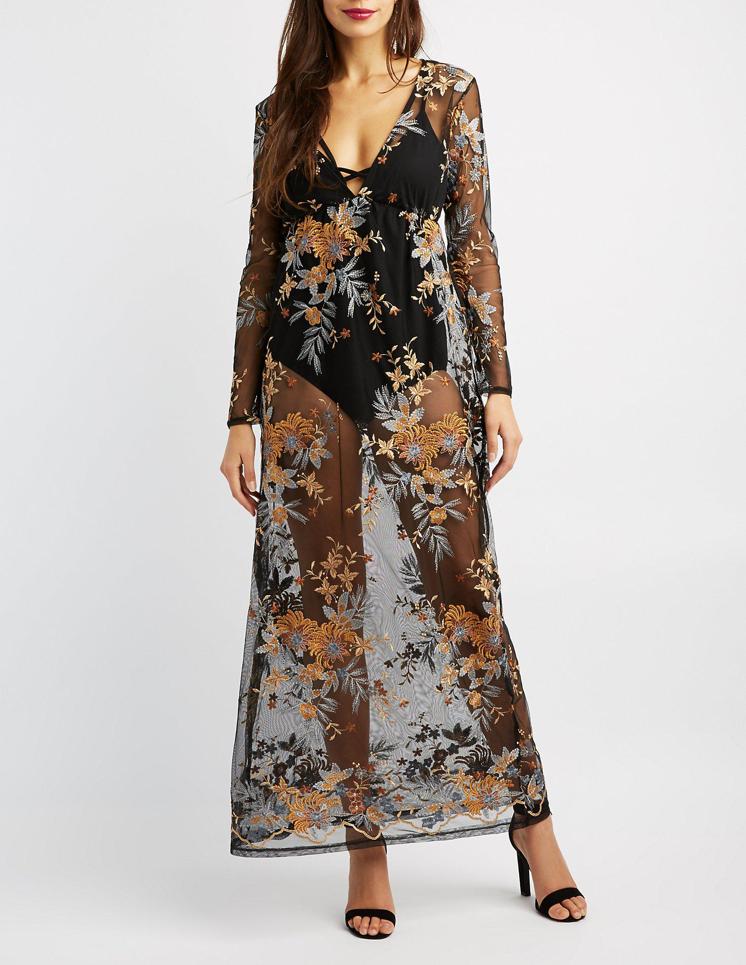 a5a4806e801 Lyst - Charlotte Russe Floral Embroidered Mesh Maxi Dress in Black
