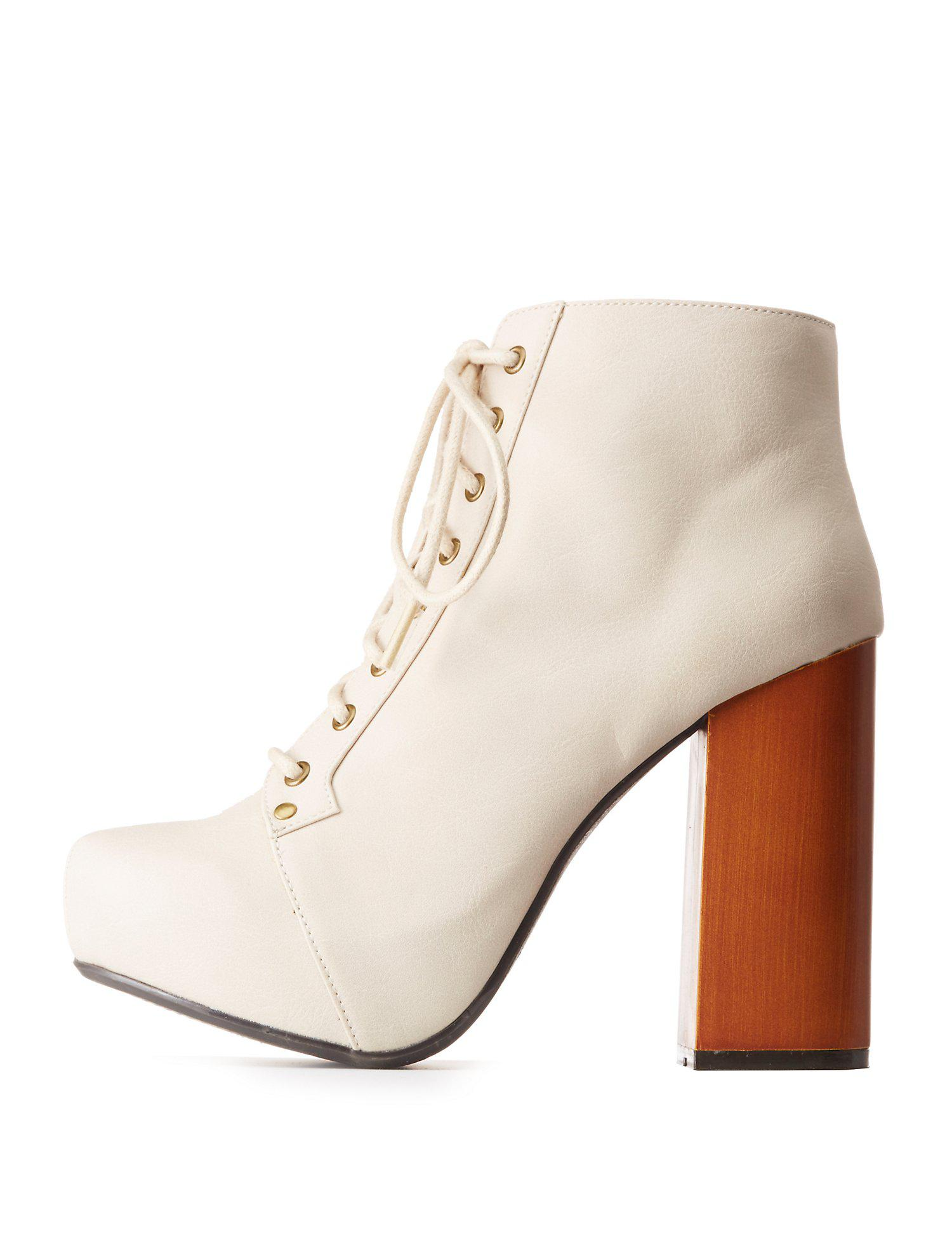 50c83e521feb Lyst - Charlotte Russe Qupid Lace-up Platform Booties in Natural