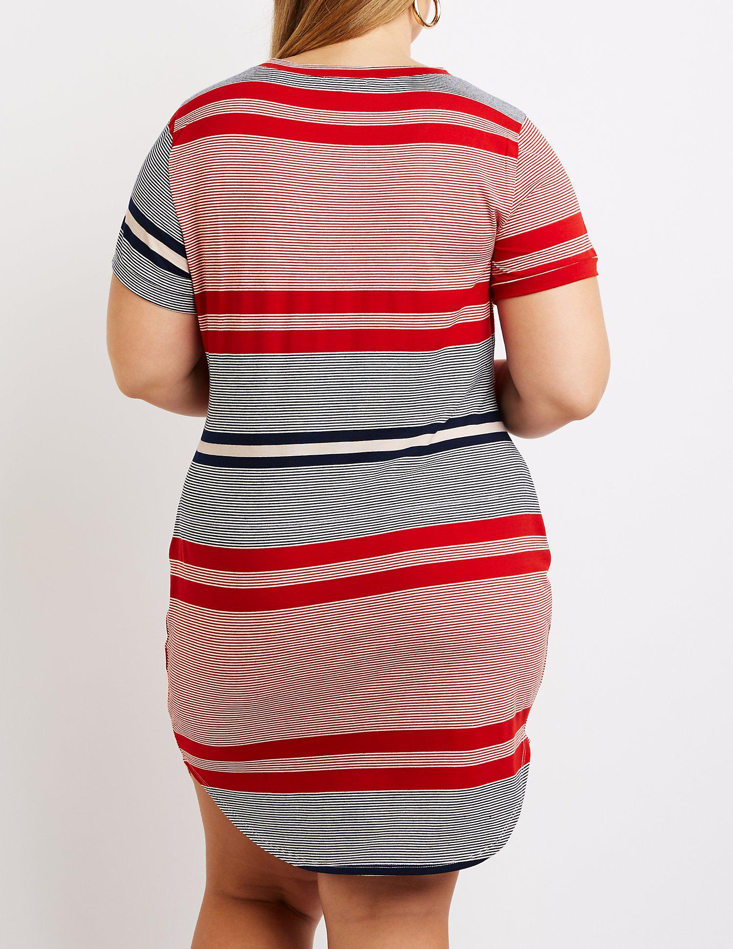 Lyst Charlotte Russe Plus Size Striped T Shirt Dress In Red