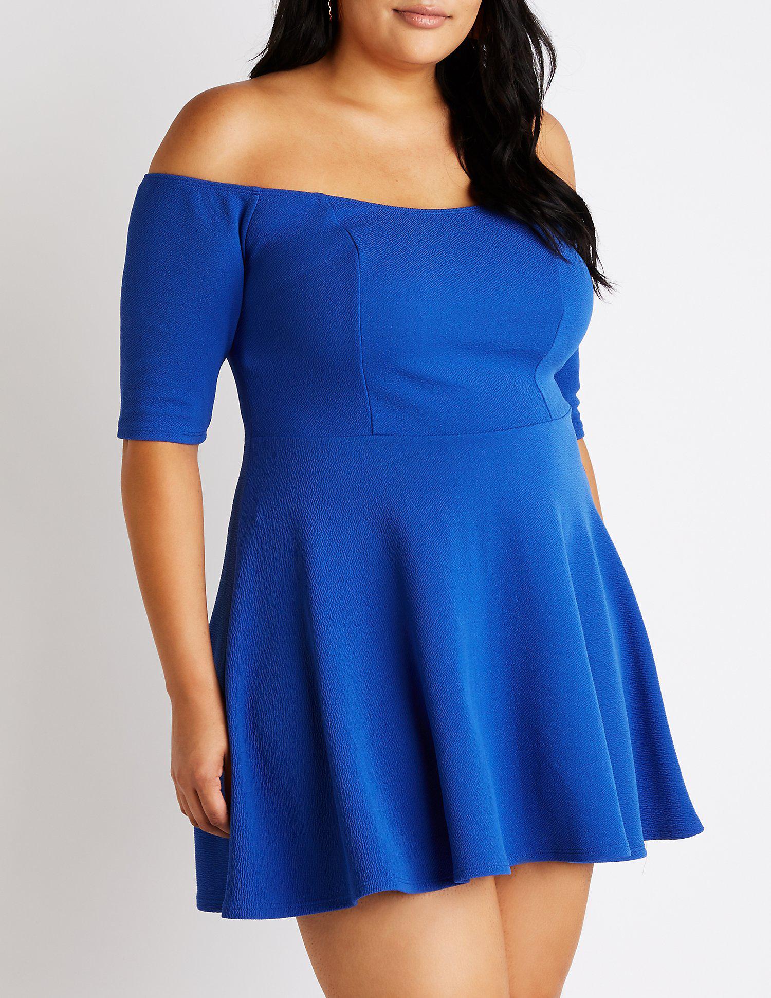 3efcf134cdc Lyst - Charlotte Russe Plus Size Off The Shoulder Skater Dress in Blue
