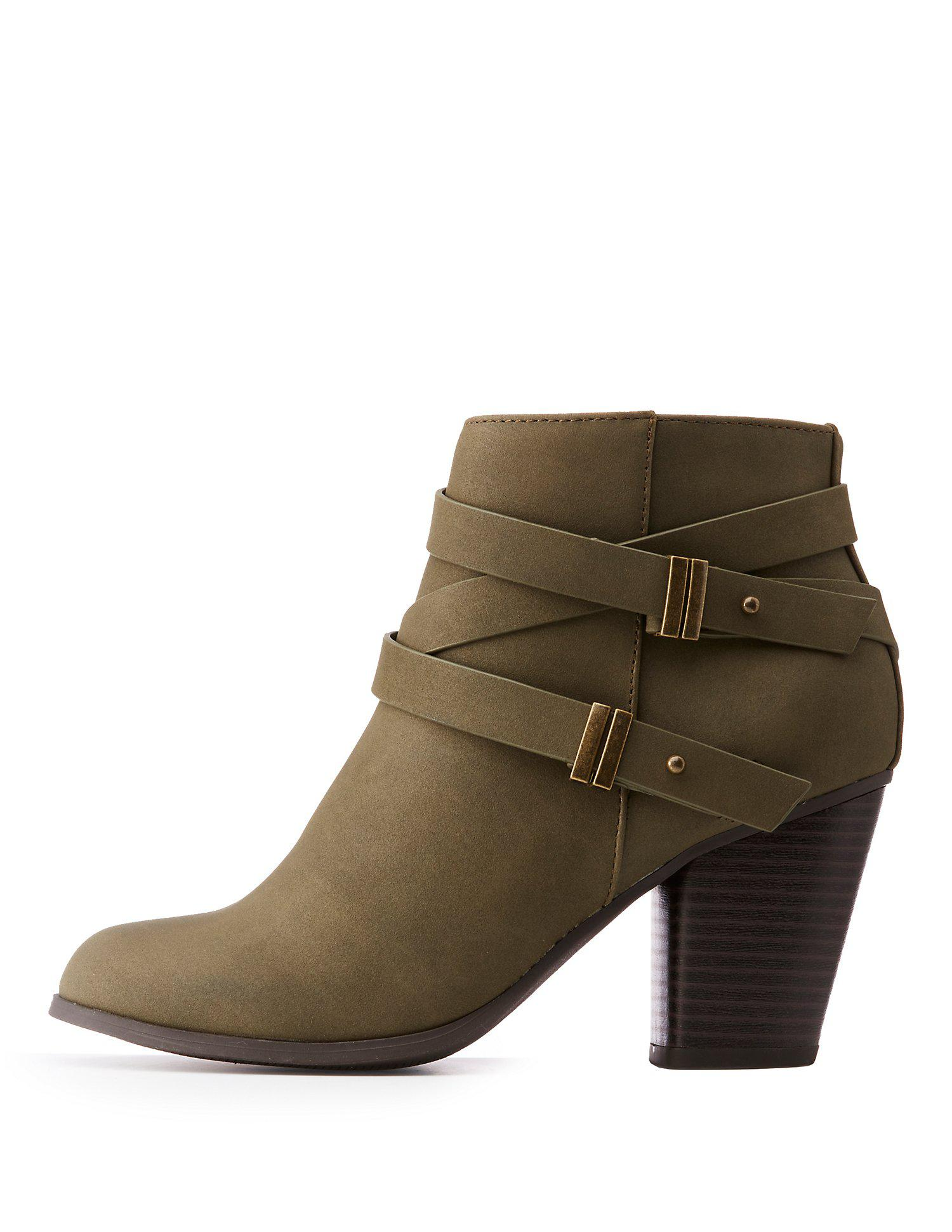 58d001a0a Lyst - Charlotte Russe Double Harness Ankle Booties - Save 60%
