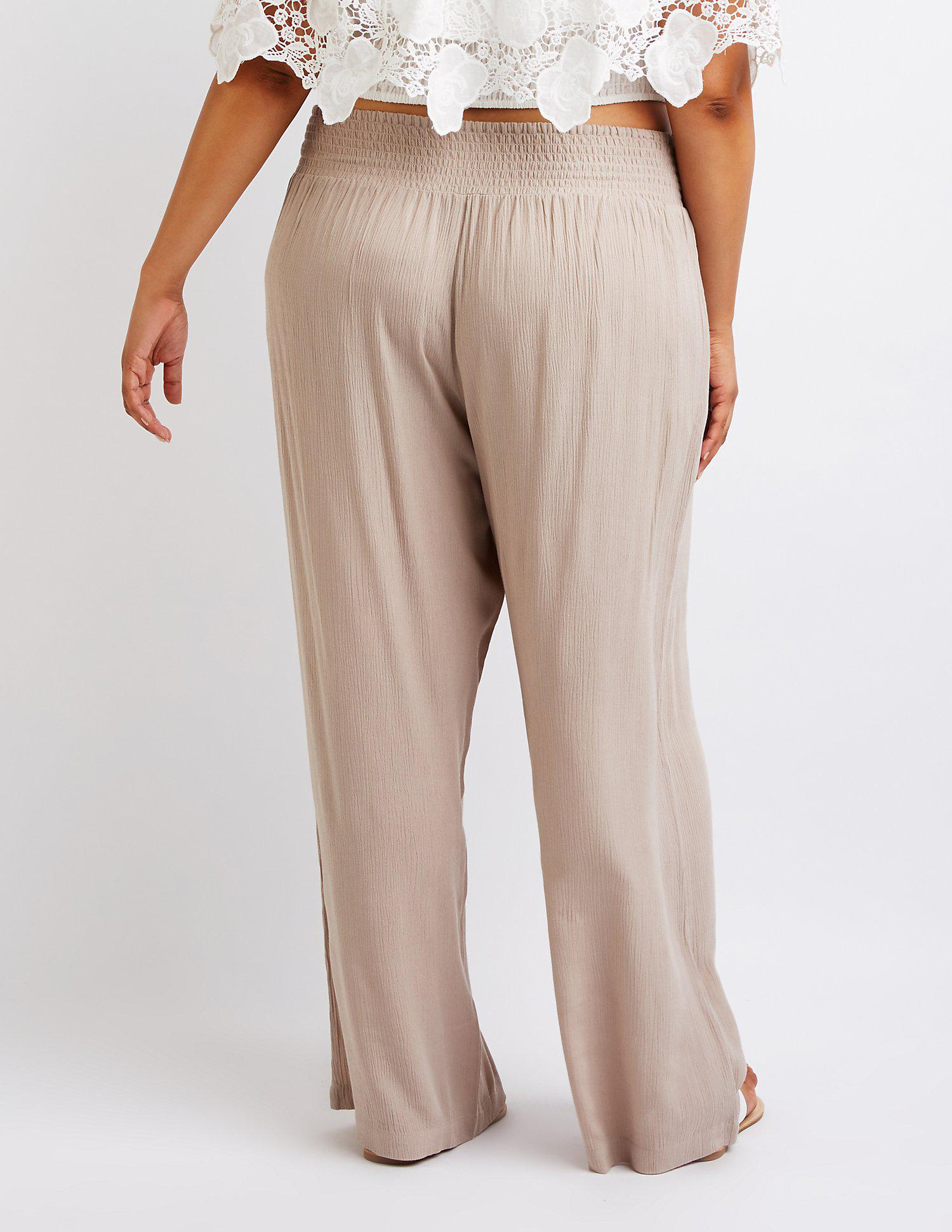 9135bce28d648 Charlotte Russe - Multicolor Plus Size Smocked Palazzo Pants - Lyst. View  fullscreen
