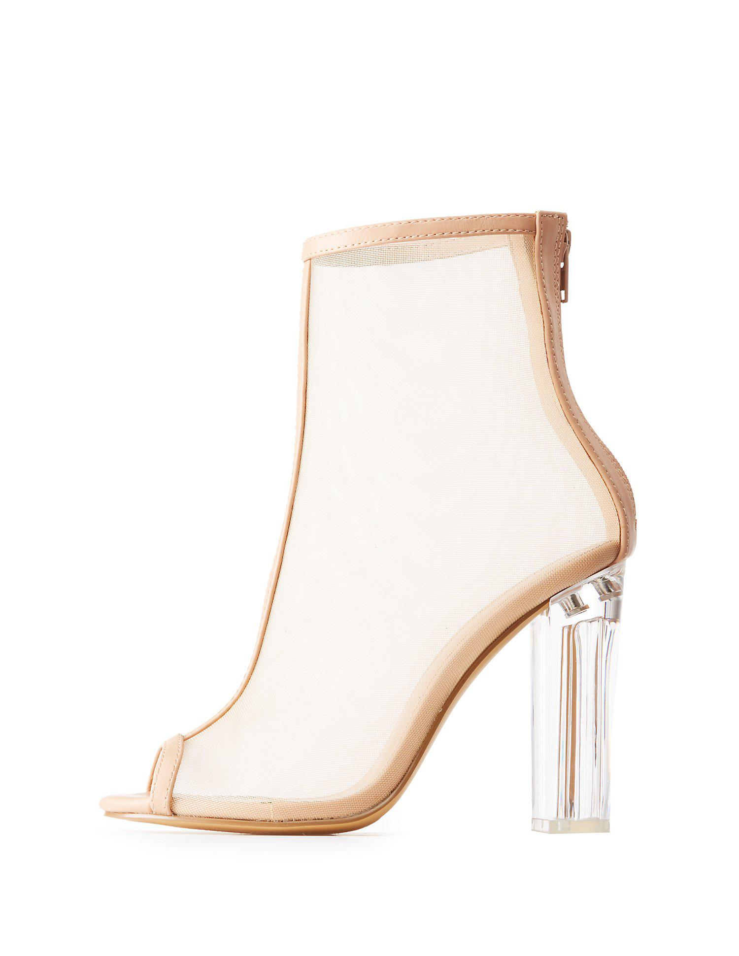 6e81f3642c7 Lyst - Charlotte Russe Mesh Peep Toe Lucite Heel Booties in Natural