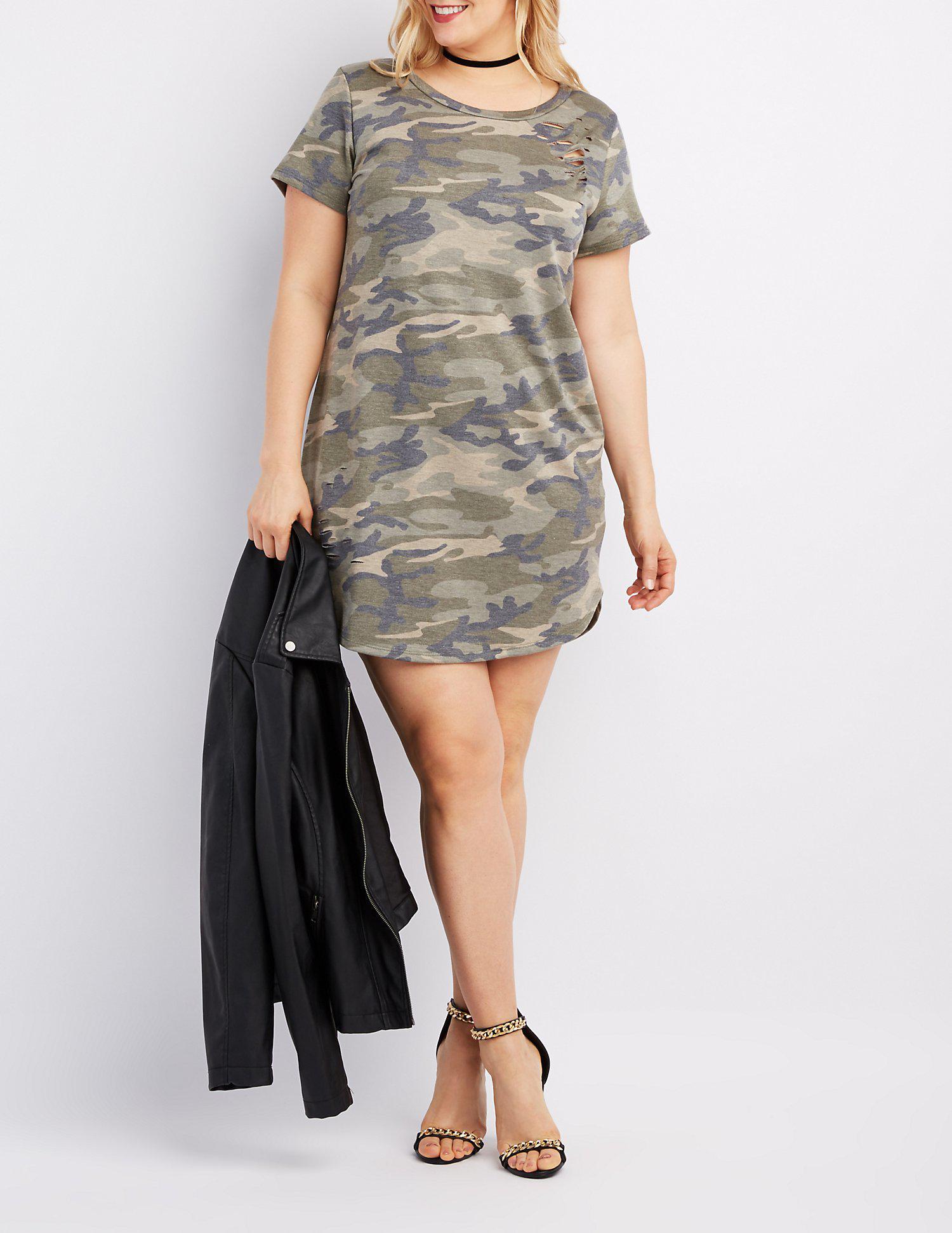 8540984c50b Lyst - Charlotte Russe Plus Size Camo Destroyed T-shirt Dress