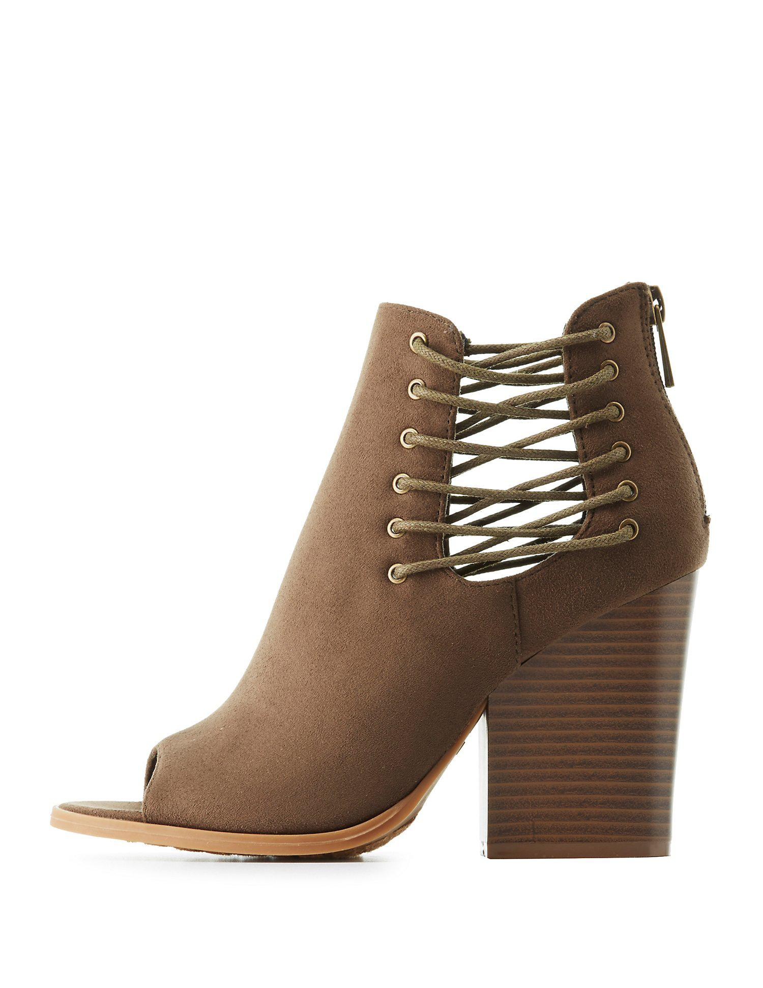 3a6d5919b33f Gallery. Previously sold at  Charlotte Russe · Women s Peep Toe Booties ...