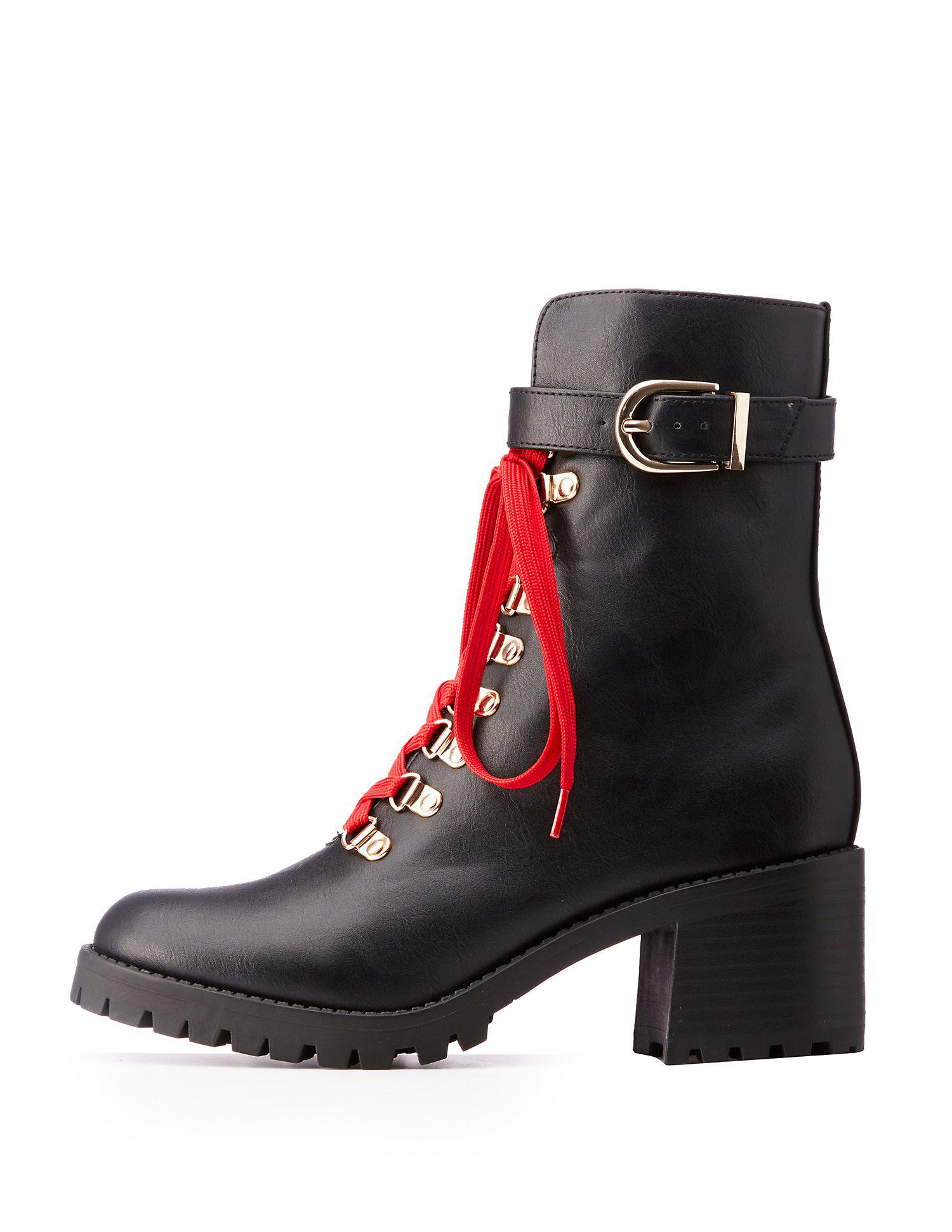 db33e6cca9778 Lyst - Charlotte Russe Lace Up Combat Boots in Black