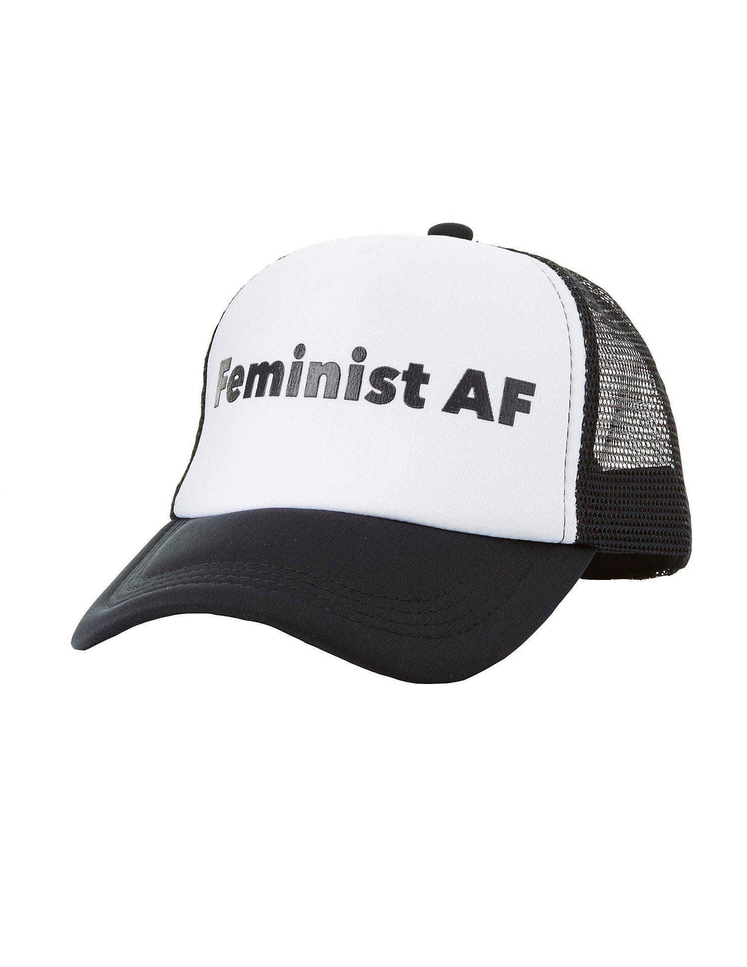 a1d5b42d668246 Lyst - Charlotte Russe Feminist Af Trucker Hat in Black