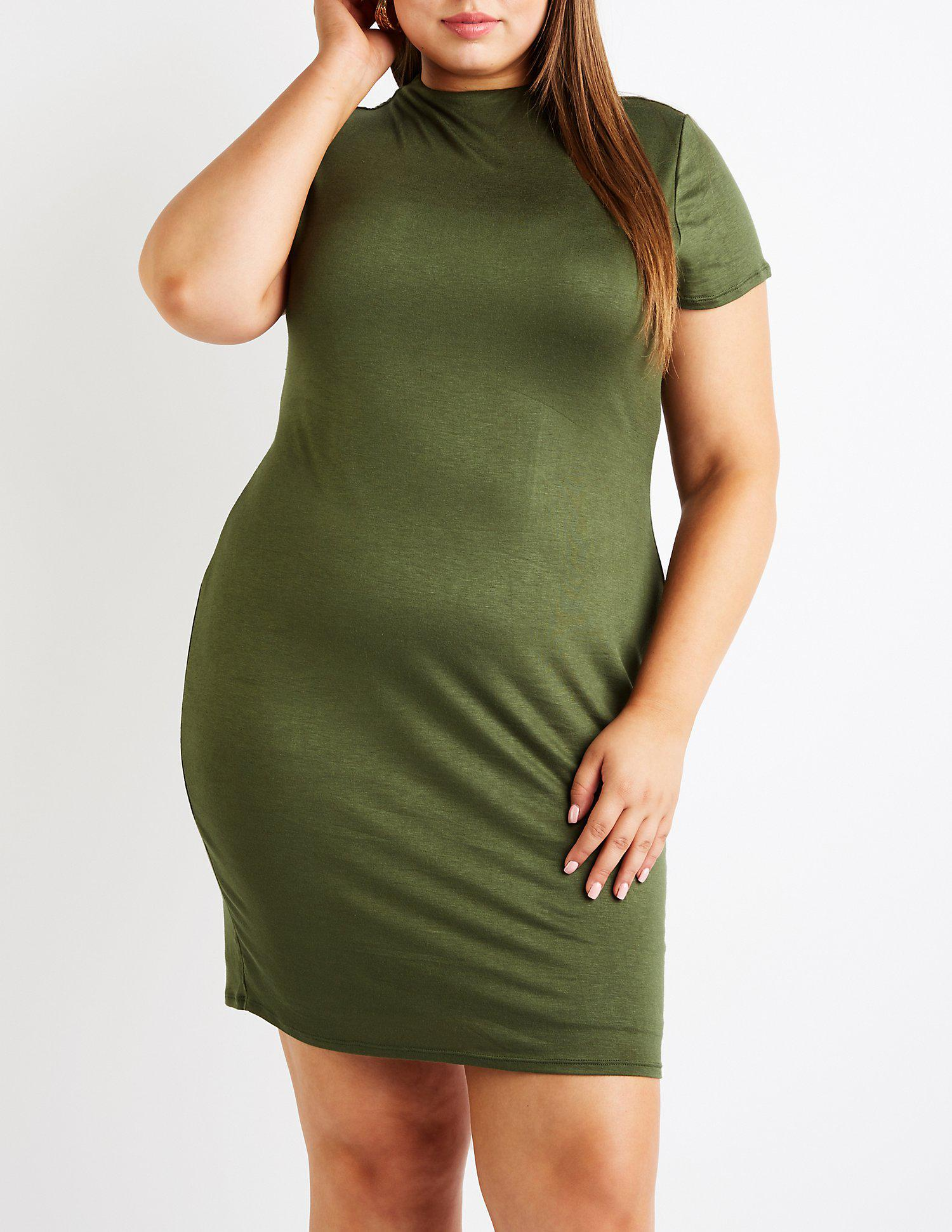 d9c011cb444 Lyst - Charlotte Russe Plus Size Bodycon Mini Dress in Green - Save 18%