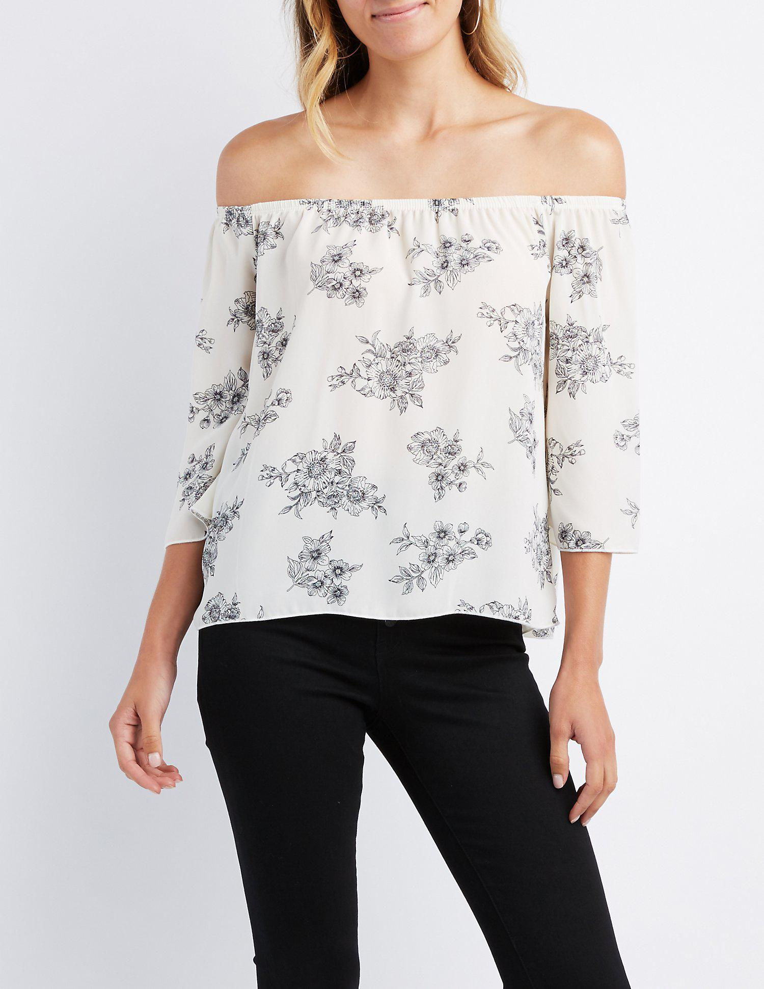 319a0b44a59 Lyst - Charlotte Russe Floral Off-the-shoulder Bell Sleeve Top in White