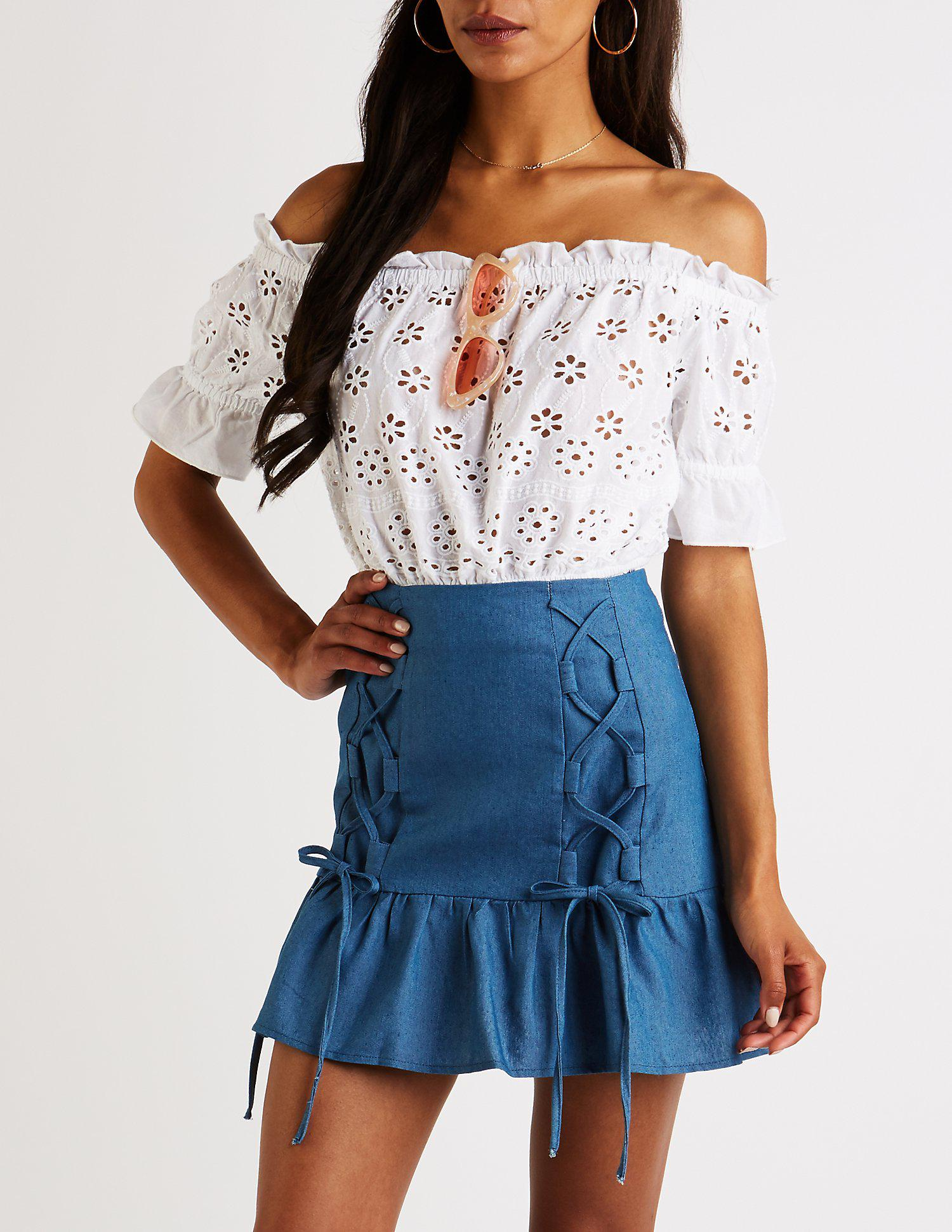 c22c4d0a93 Lyst - Charlotte Russe Chambray Lace Up Mini Skirt in Blue