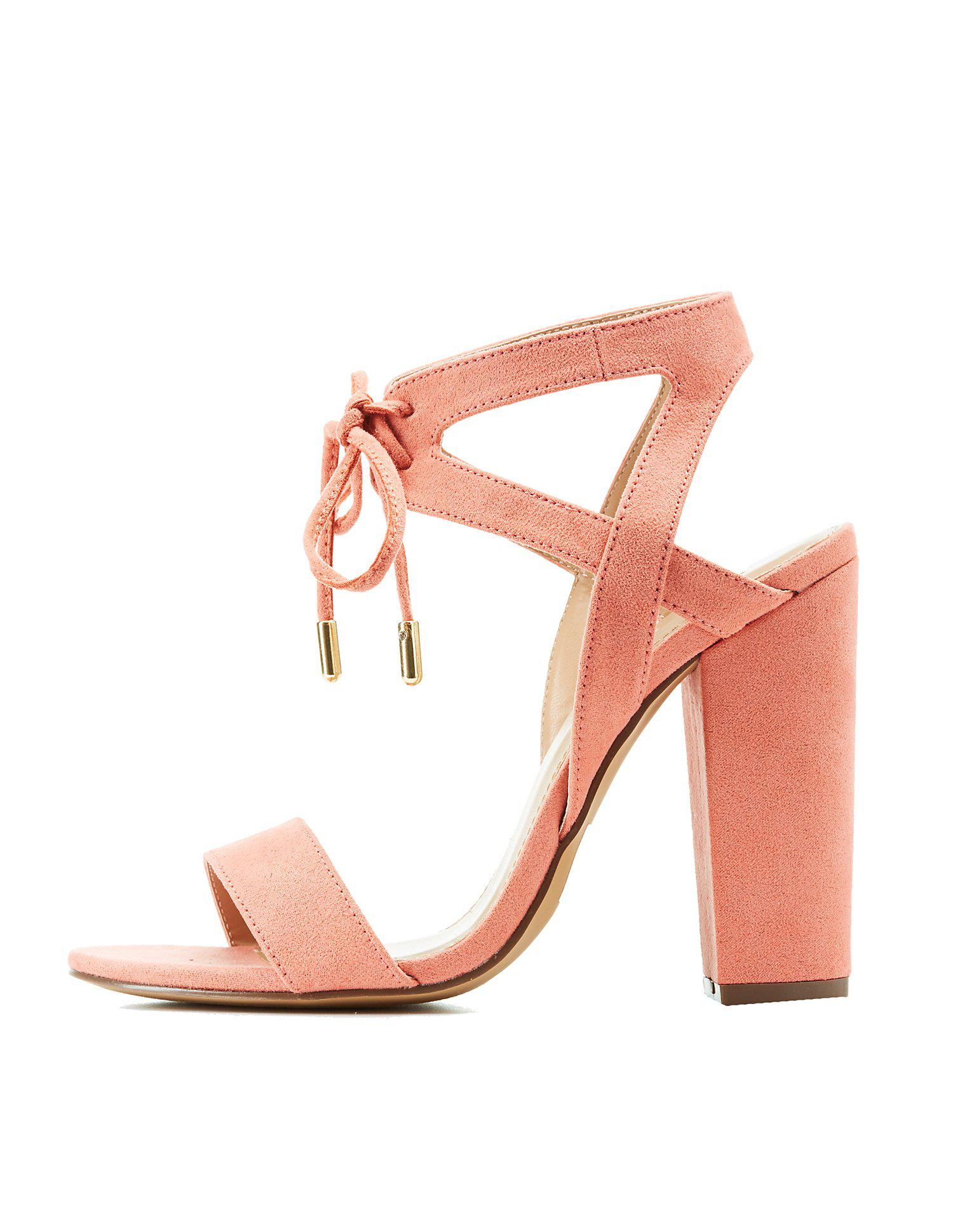 da2ab2c09774 Lyst - Charlotte Russe Caged Lace Up Sandals in Pink