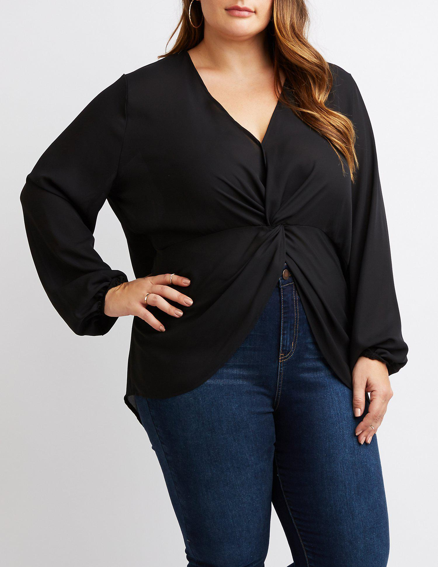 59cdfc0040a Lyst - Charlotte Russe Plus Size Knotted High-low Tunic Top in Black ...