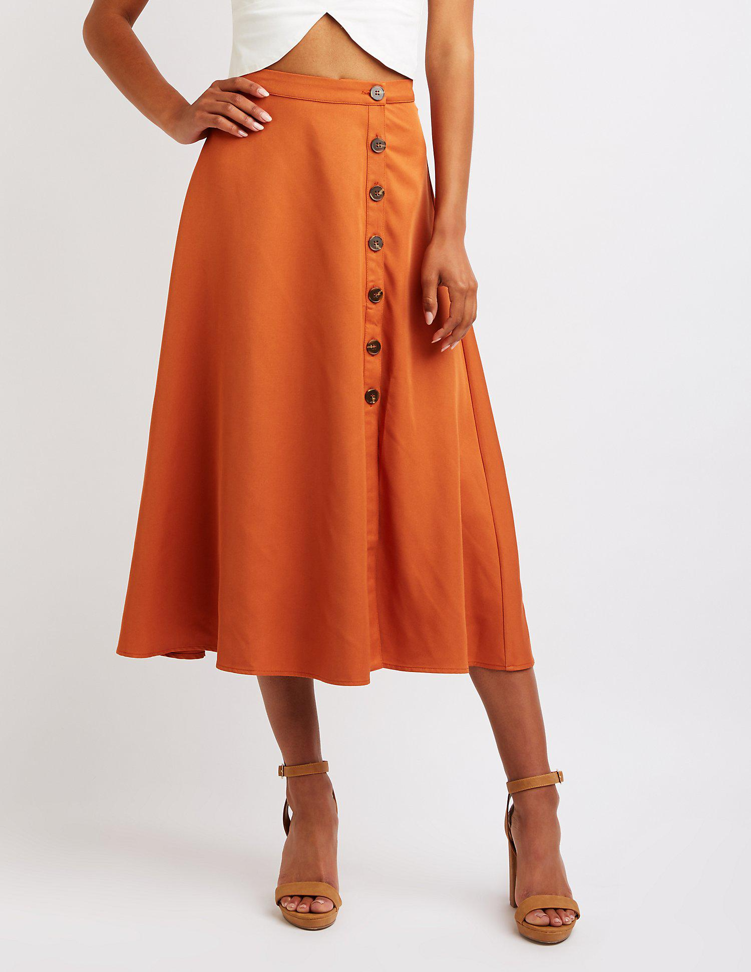 c562a90c7 Lyst - Charlotte Russe Button Up Midi Skirt in Orange